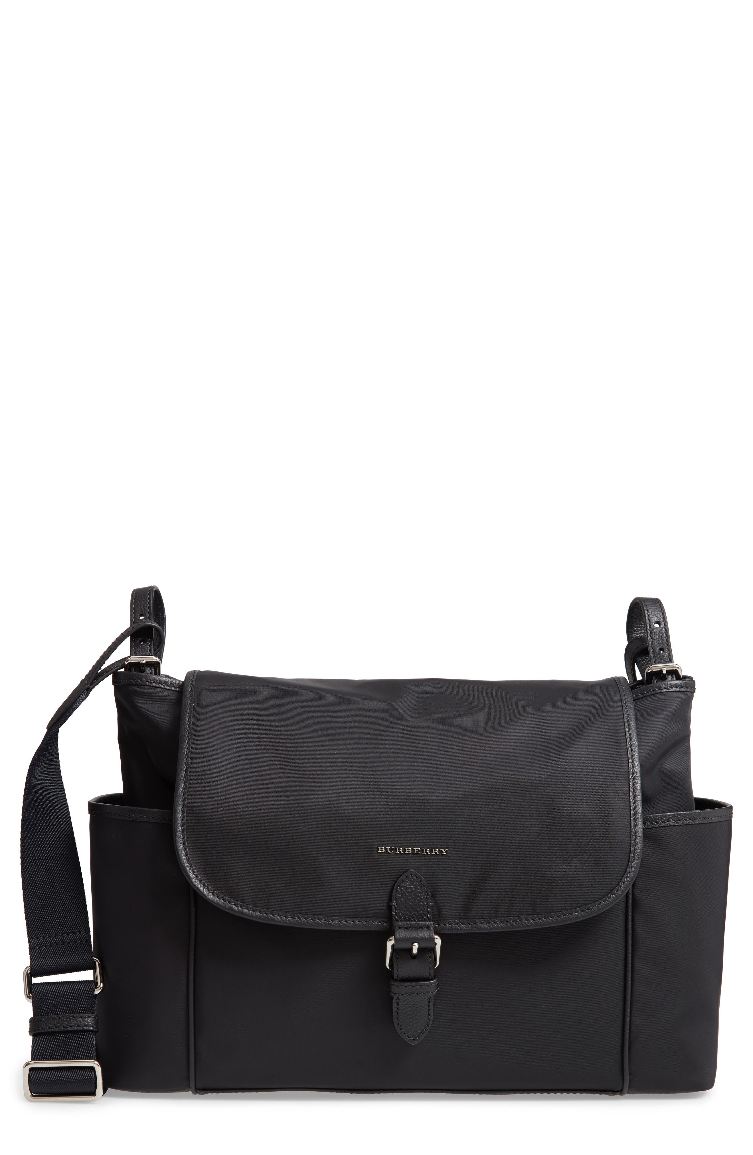 Flap Nylon Diaper Bag,                         Main,                         color, BLACK