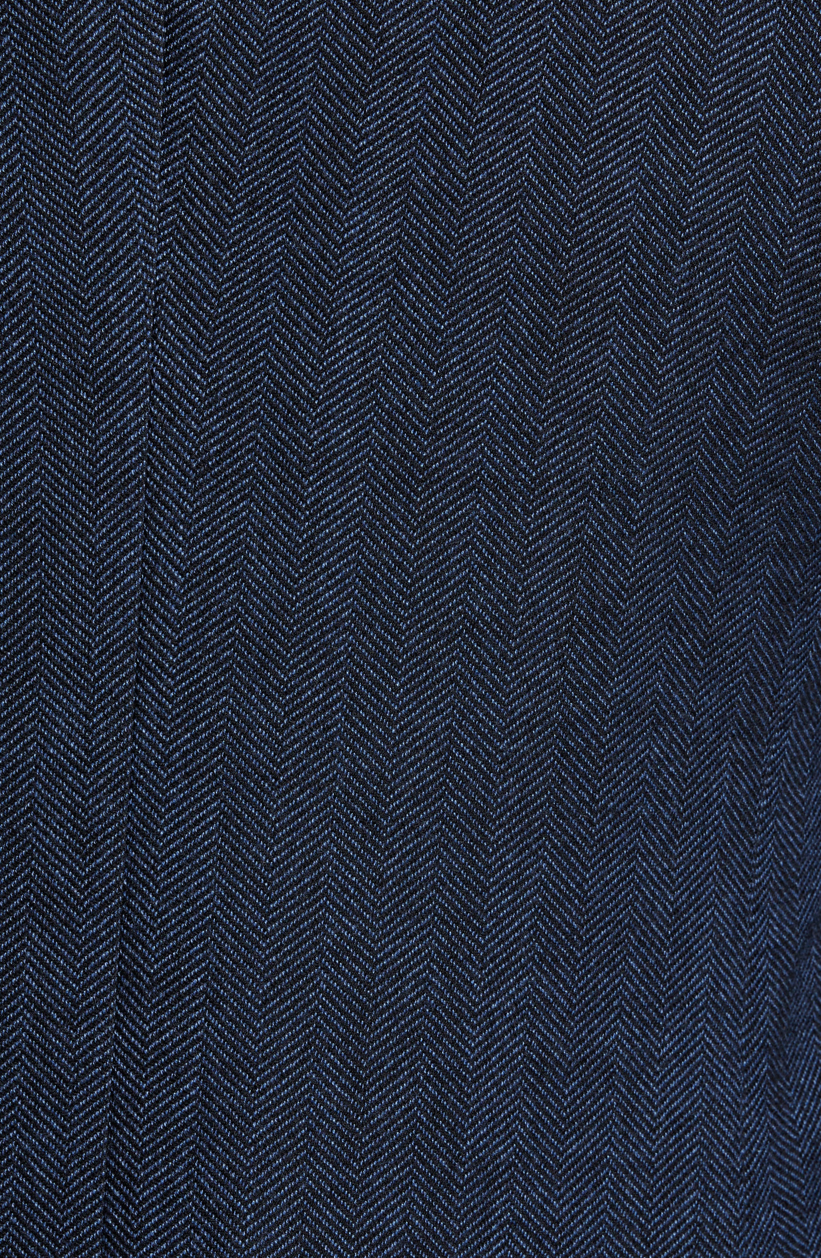 Nanon Trim Fit Herringbone Wool & Cotton Sport Coat,                             Alternate thumbnail 6, color,                             OPEN BLUE