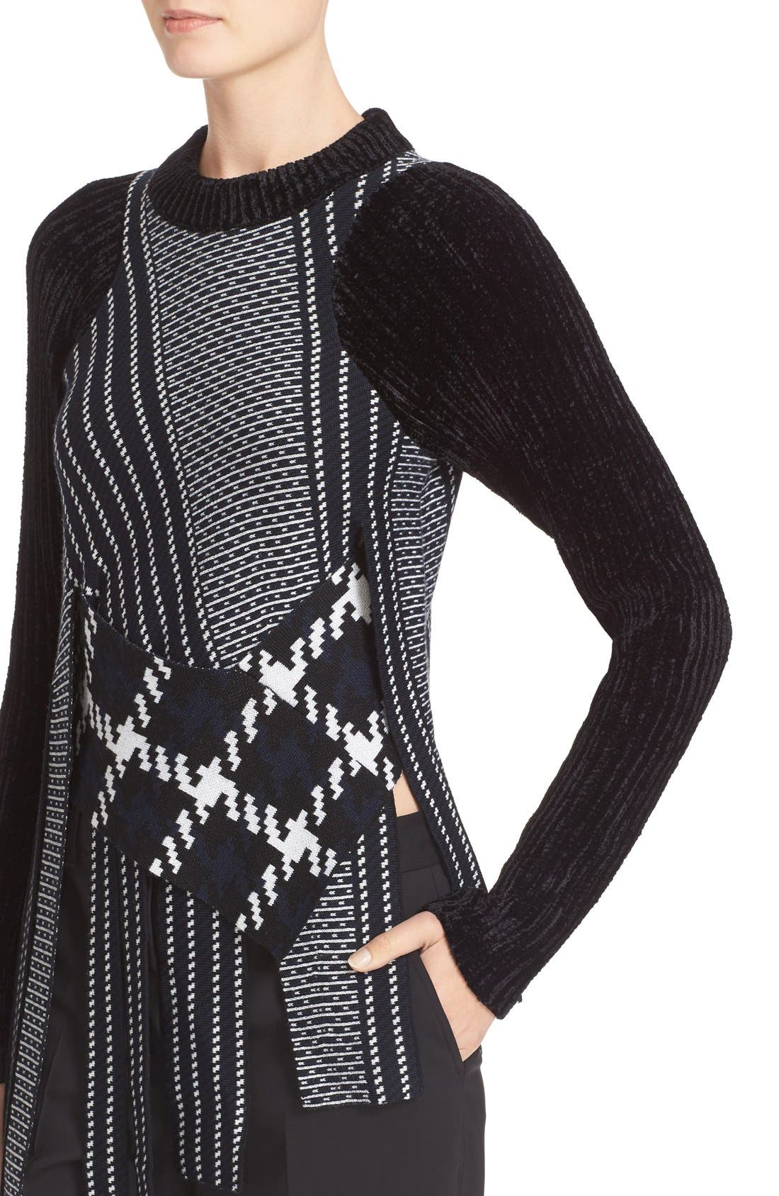 Draped Jacquard & Chenille Sweater,                             Alternate thumbnail 4, color,                             001
