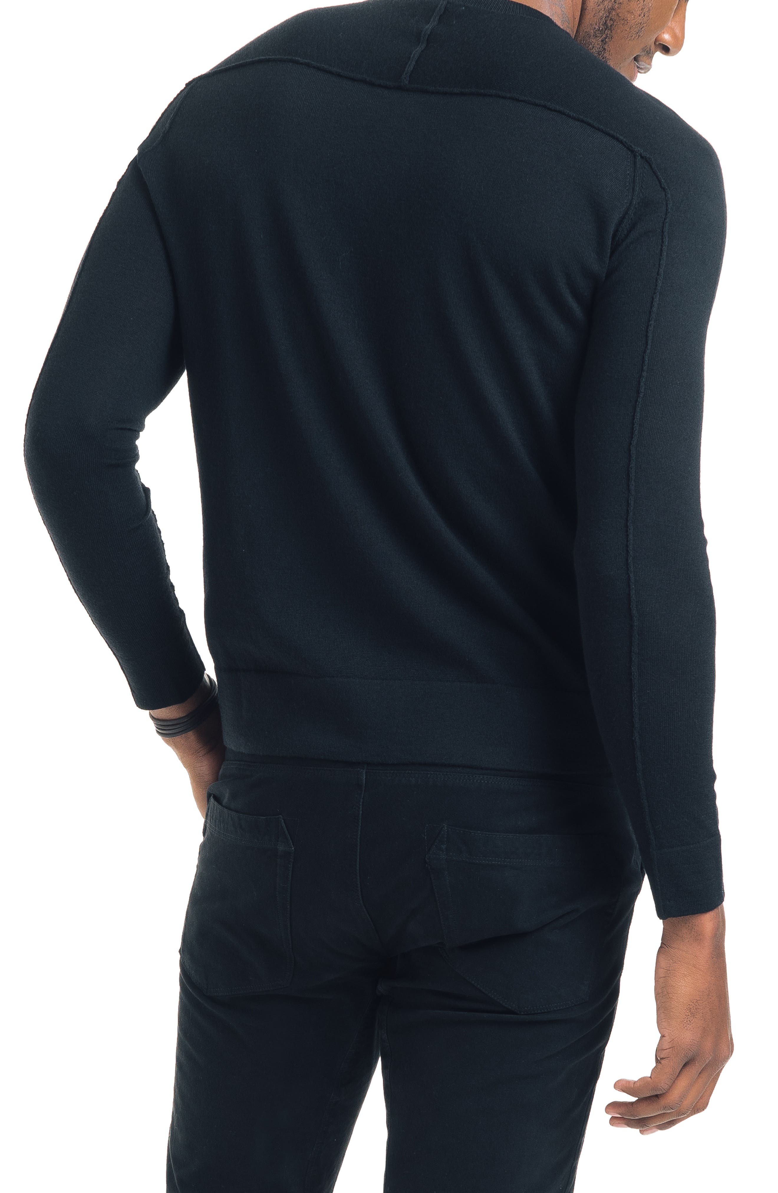 Modern Slim Fit Merino Wool Sweater,                             Alternate thumbnail 2, color,                             BLACK