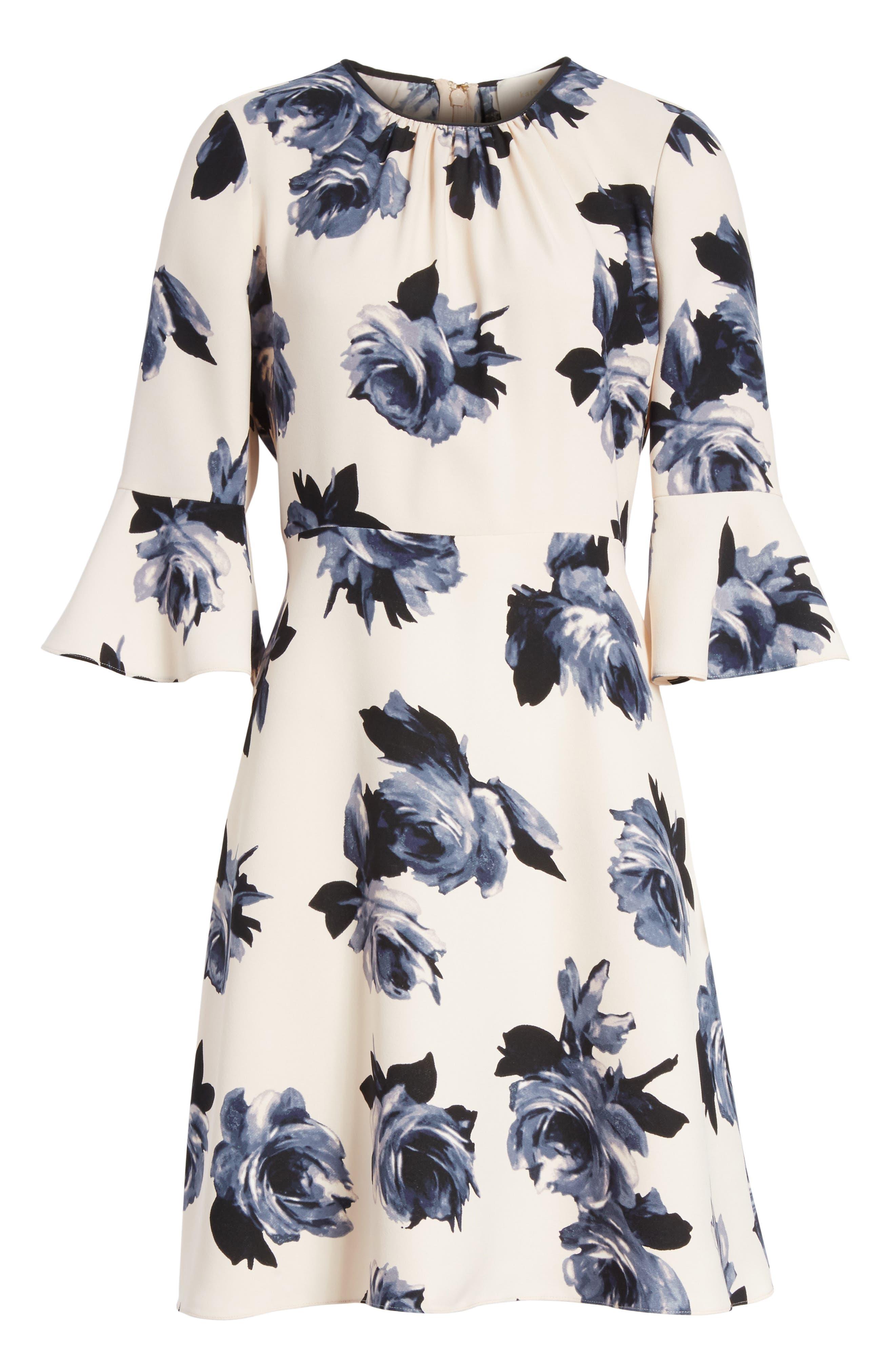night rose ruffle sleeve dress,                             Alternate thumbnail 6, color,                             672