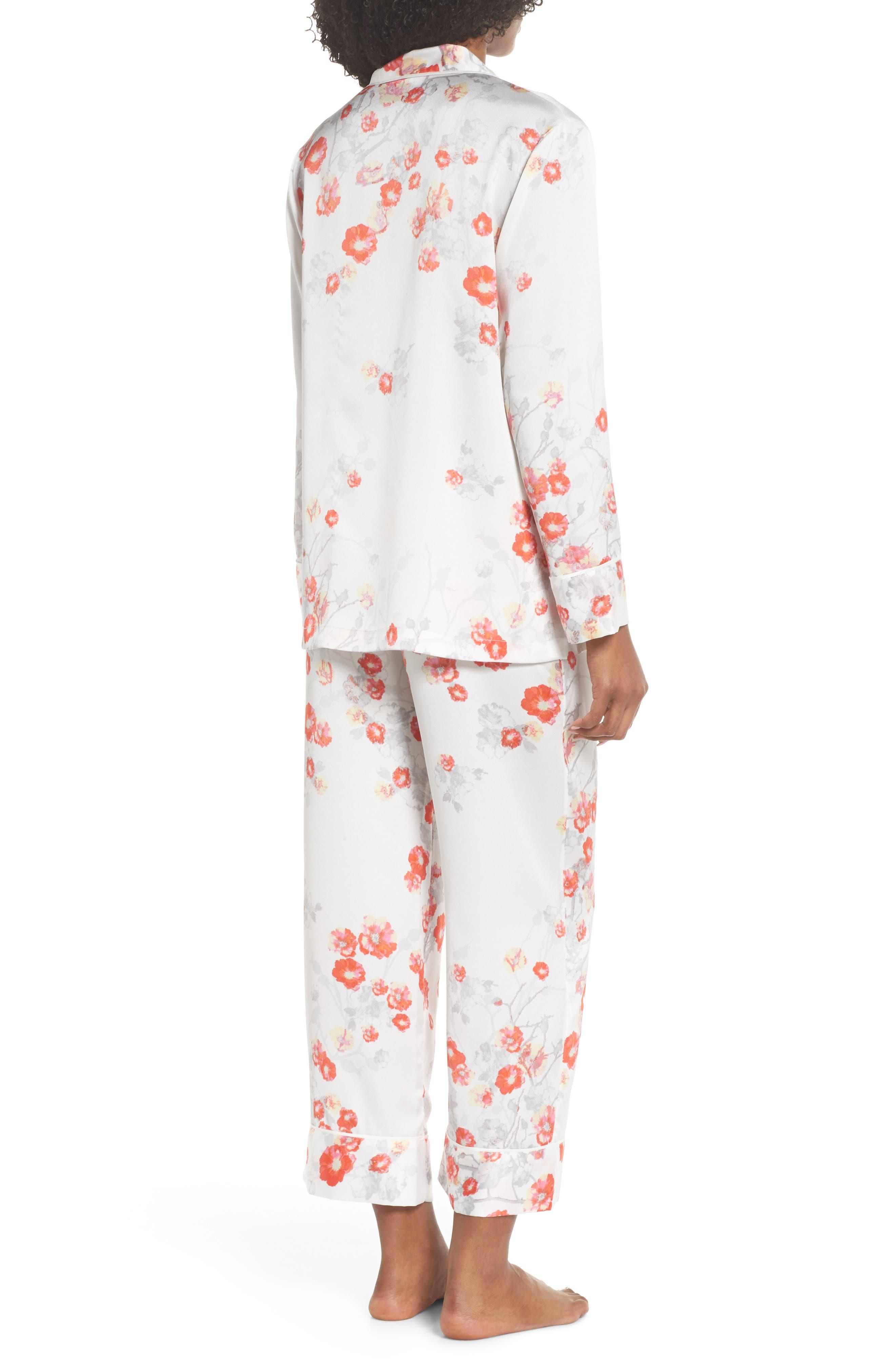 Blossom Print Satin Pajamas,                             Alternate thumbnail 2, color,                             905