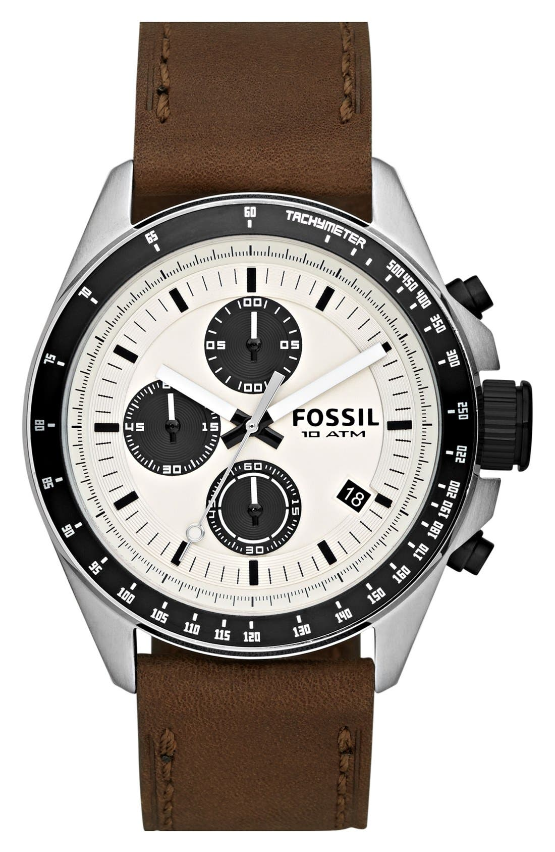 FOSSIL 'Decker' Chronograph Leather Strap Watch, 45mm, Main, color, 200