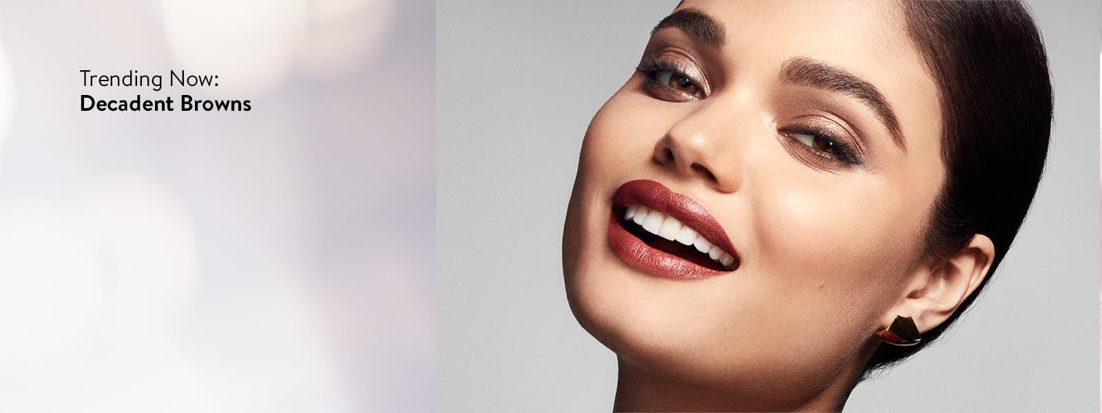 Trending now: decadent brown lip color.