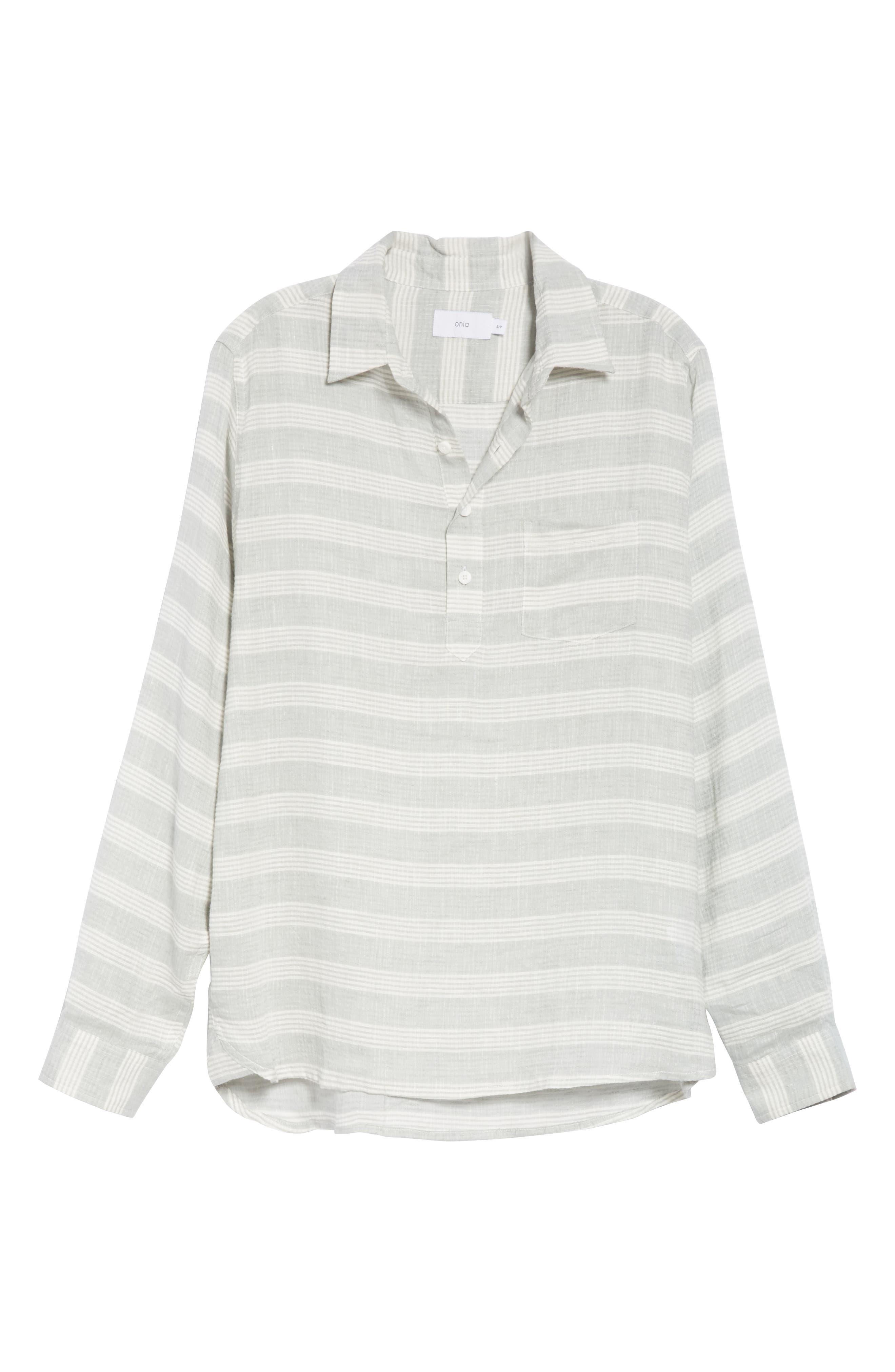 Chambray Stripe Pullover Woven Shirt,                             Alternate thumbnail 6, color,                             GREY
