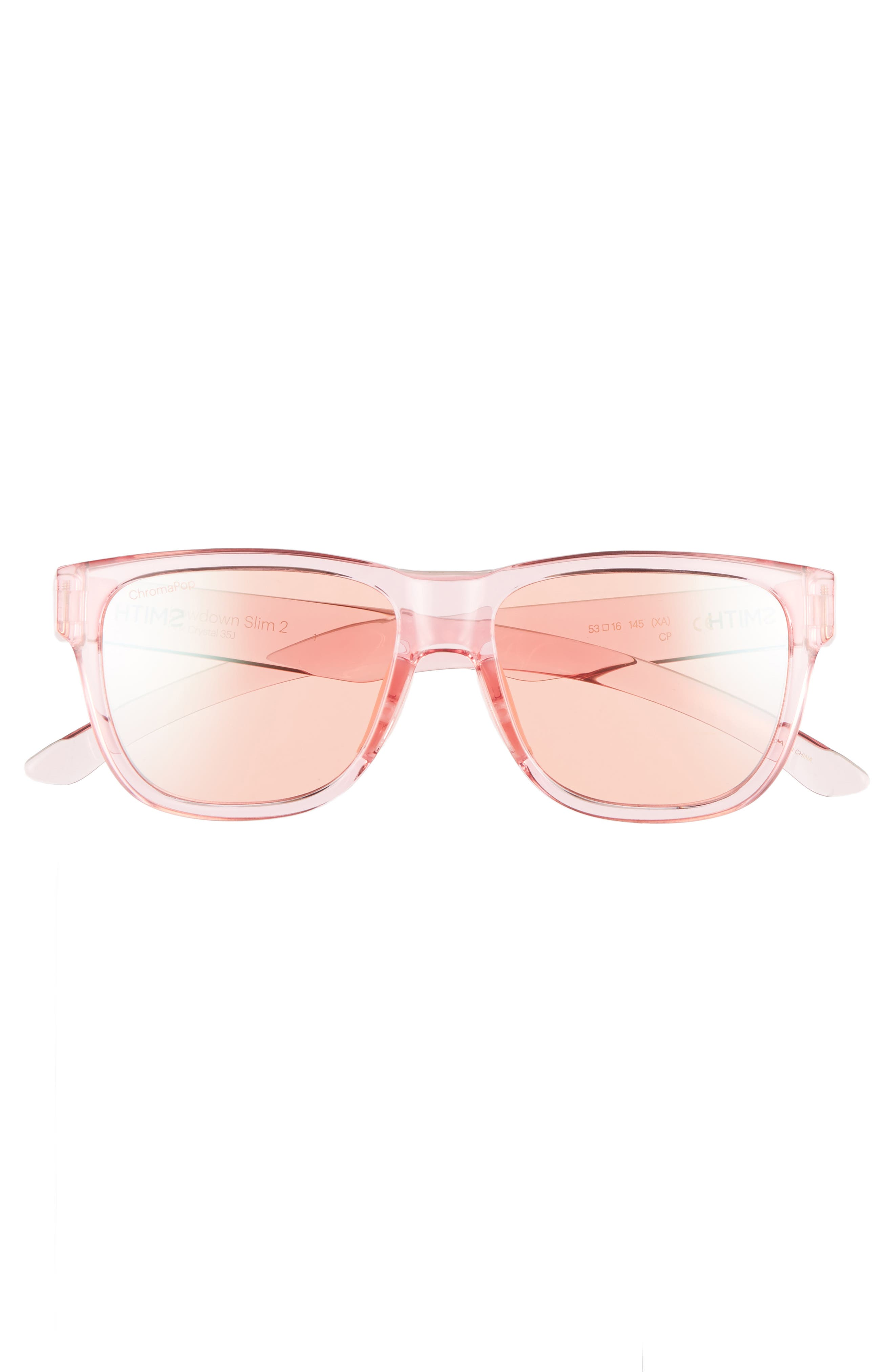 Lowdown Slim 2 53mm ChromaPop<sup>™</sup> Square Sunglasses,                             Alternate thumbnail 3, color,                             PINK CRYSTAL
