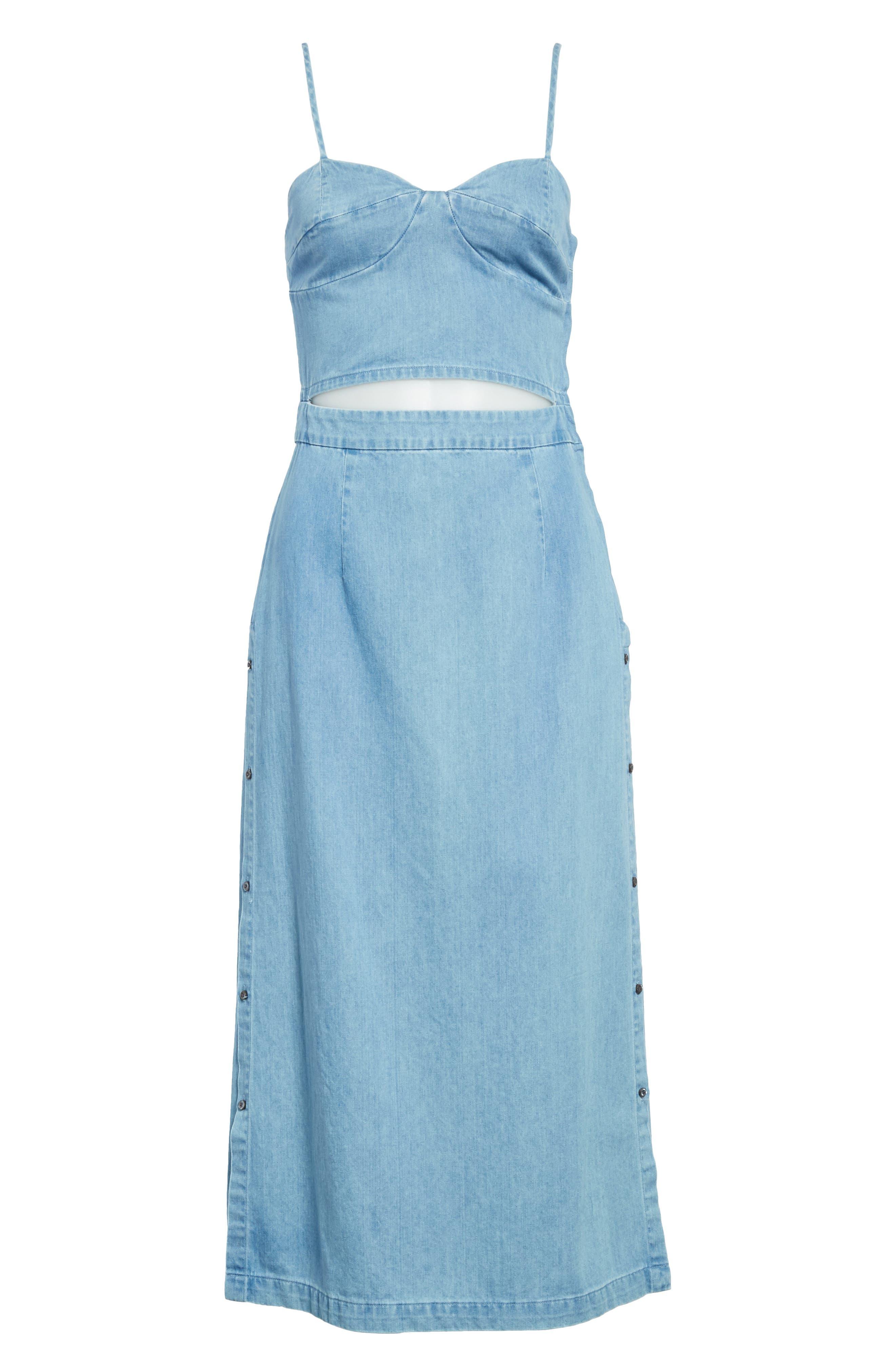 Peekaboo Chambray Midi Dress,                             Alternate thumbnail 6, color,                             421
