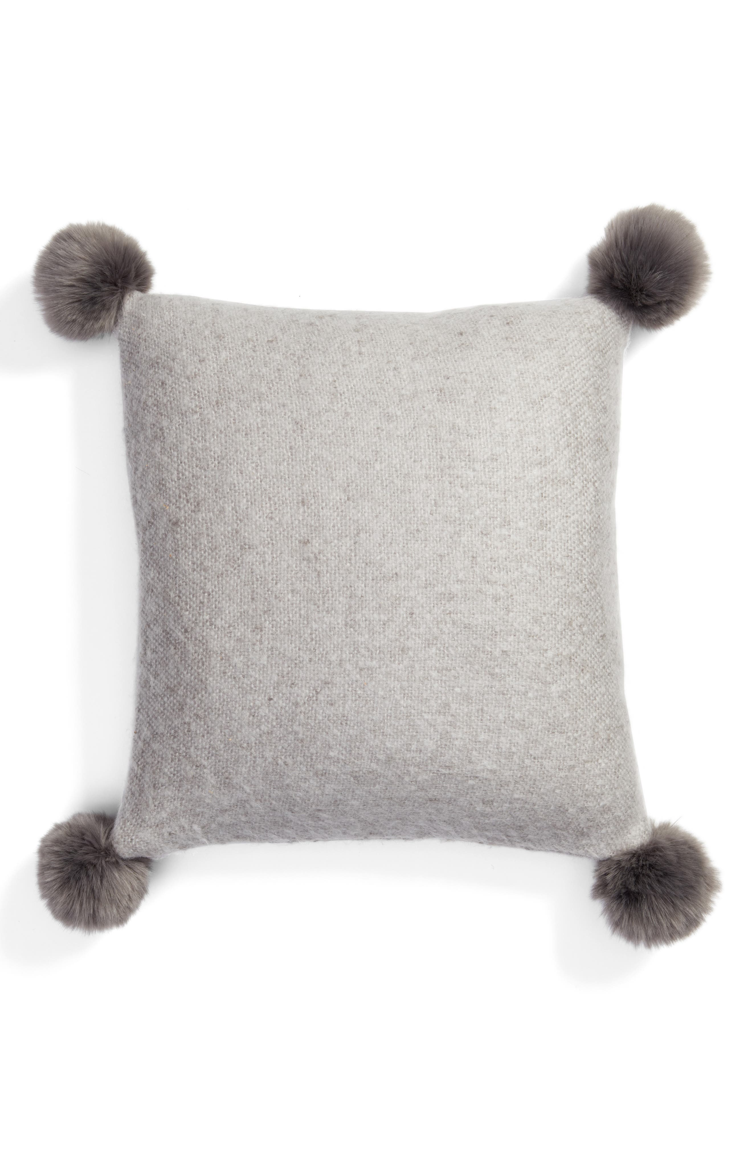 Brushed Accent Pillow with Pompoms,                             Main thumbnail 3, color,