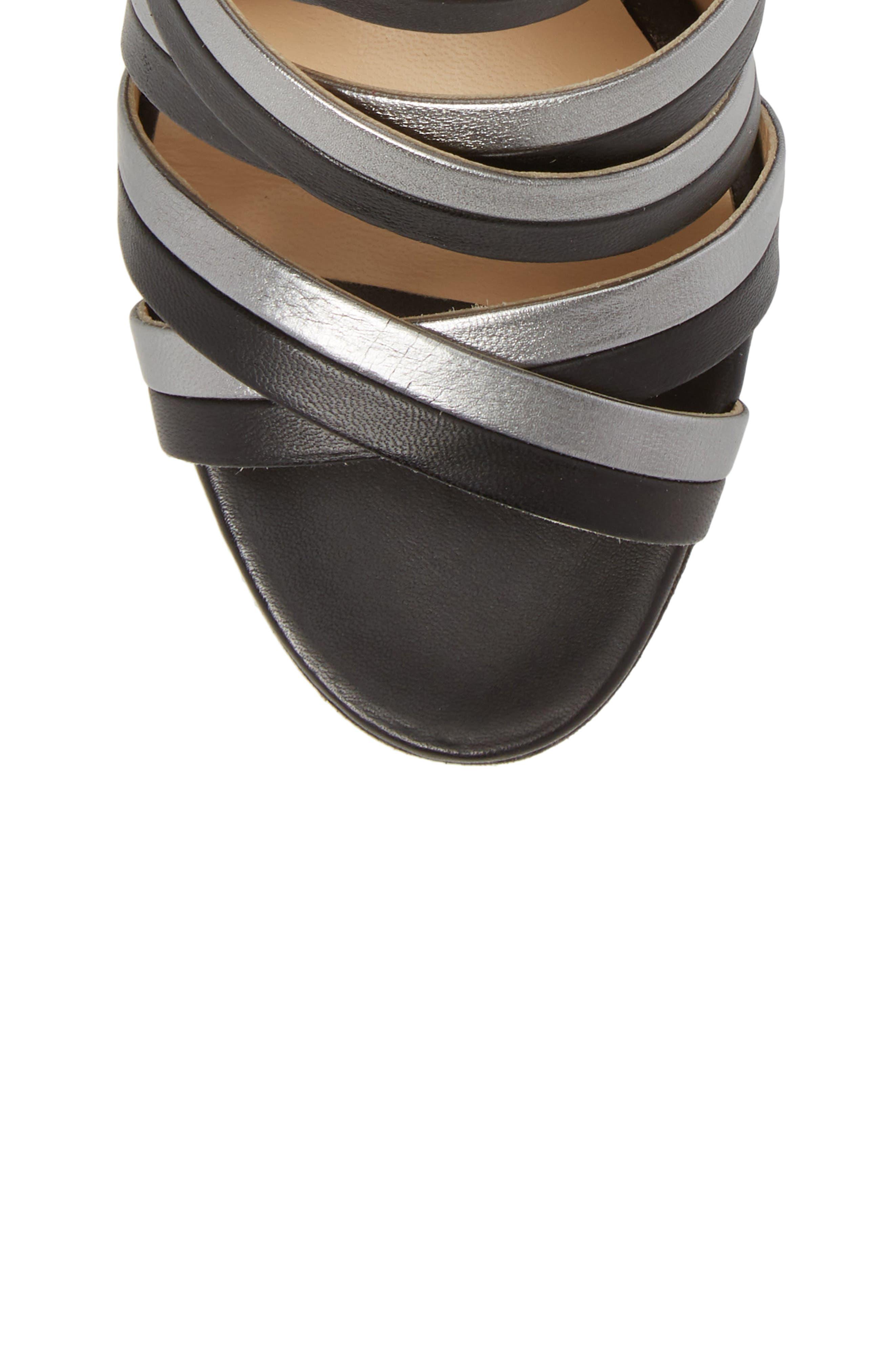 Leda Strappy Sandal,                             Alternate thumbnail 5, color,                             BLACK LEATHER