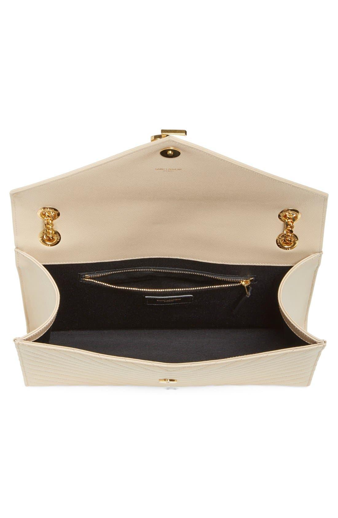 SAINT LAURENT,                             'Large Monogram' Grained Leather Shoulder Bag,                             Alternate thumbnail 4, color,                             POUDRE