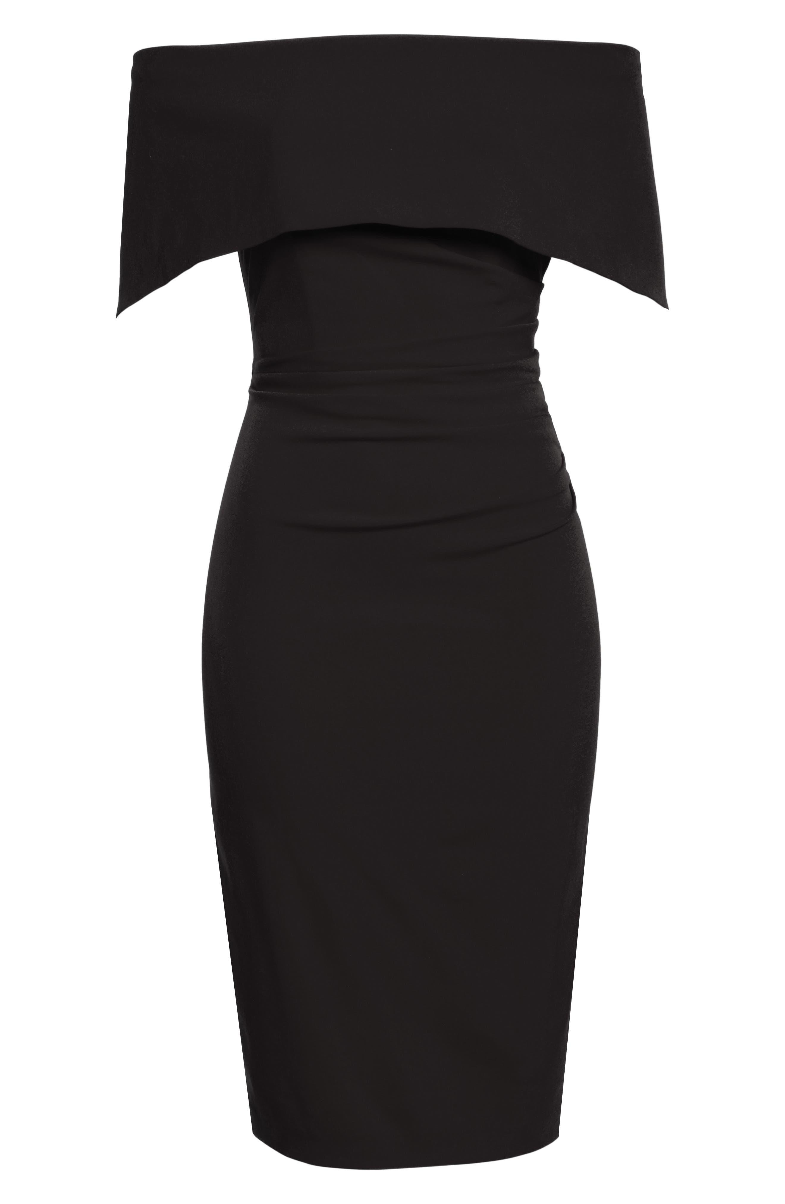 Popover Midi Dress,                             Alternate thumbnail 7, color,                             BLACK