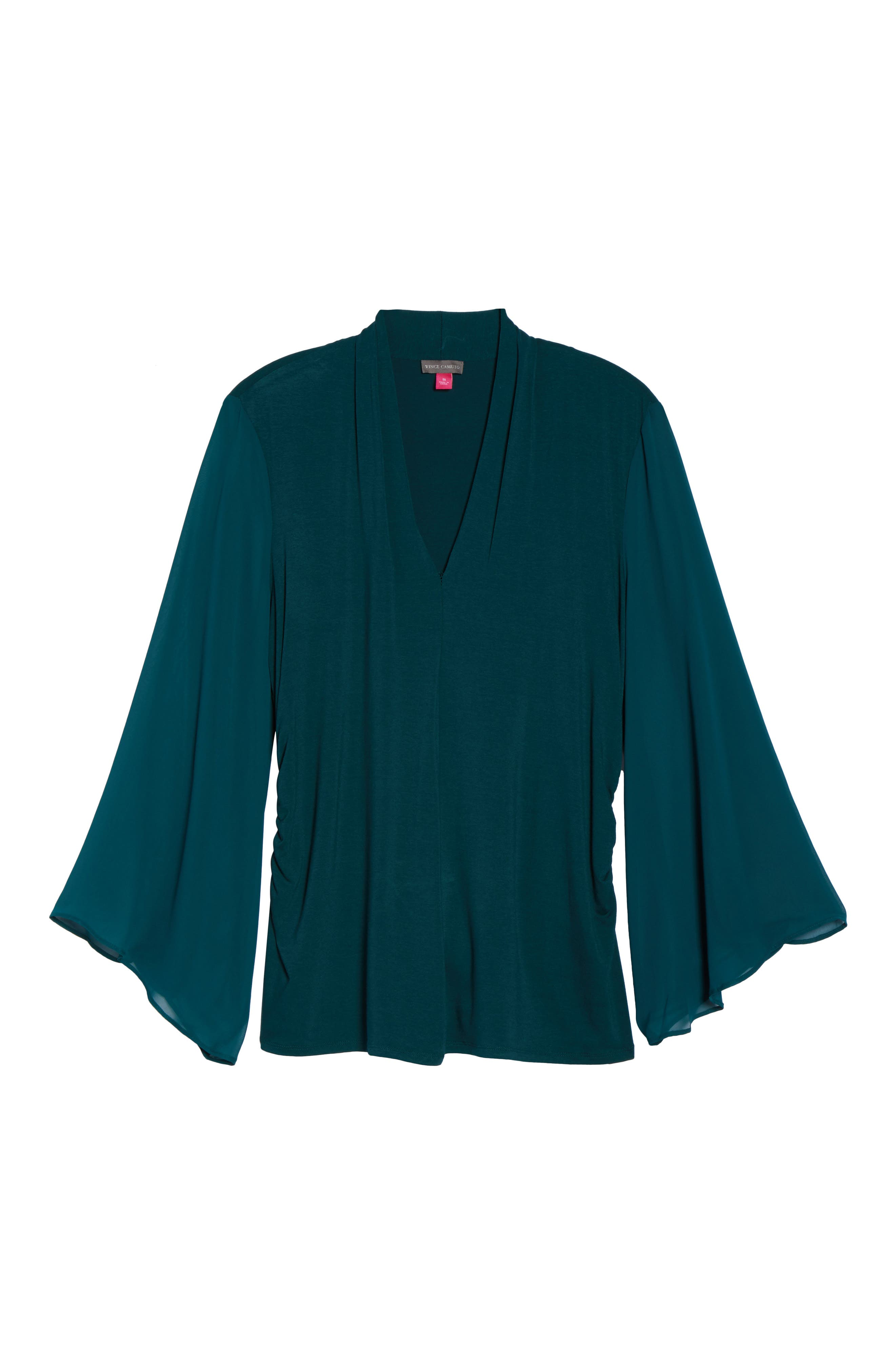 Ruched Bell Sleeve Chiffon Blouse,                             Alternate thumbnail 17, color,