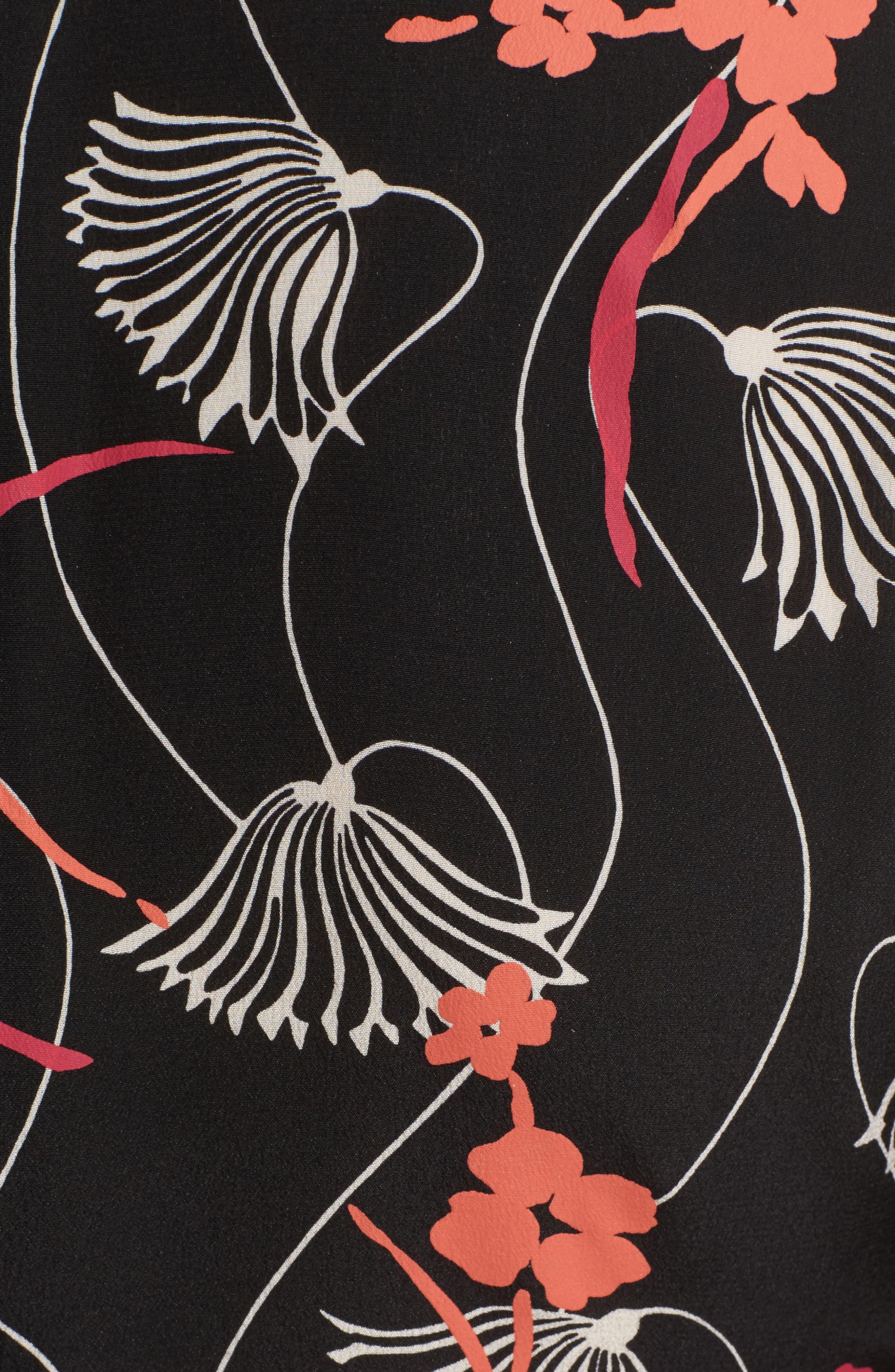 Lotus Print Tie Neck Dress,                             Alternate thumbnail 5, color,                             001