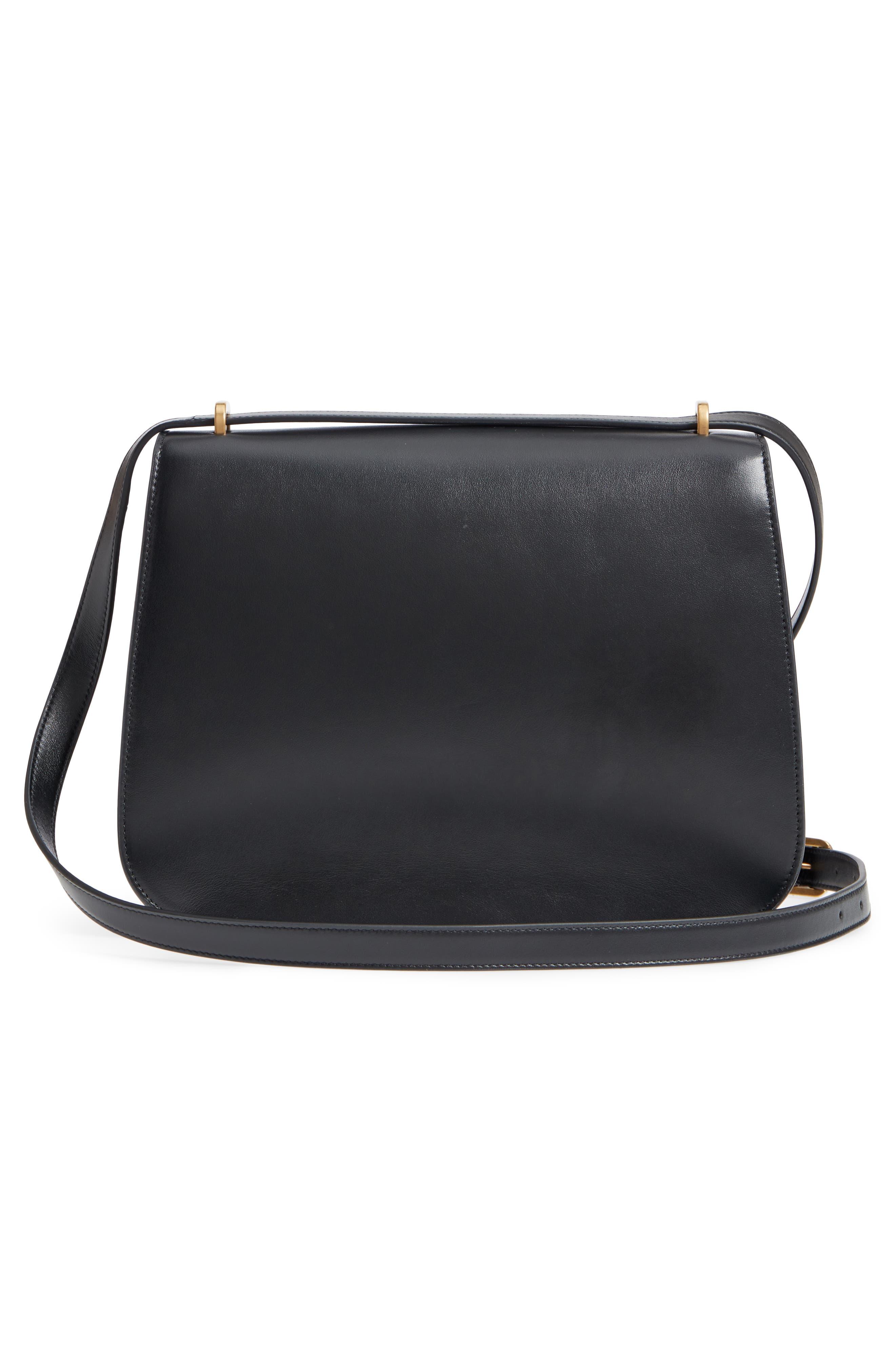 Medium Spontini Leather Shoulder Bag,                             Alternate thumbnail 3, color,                             NERO