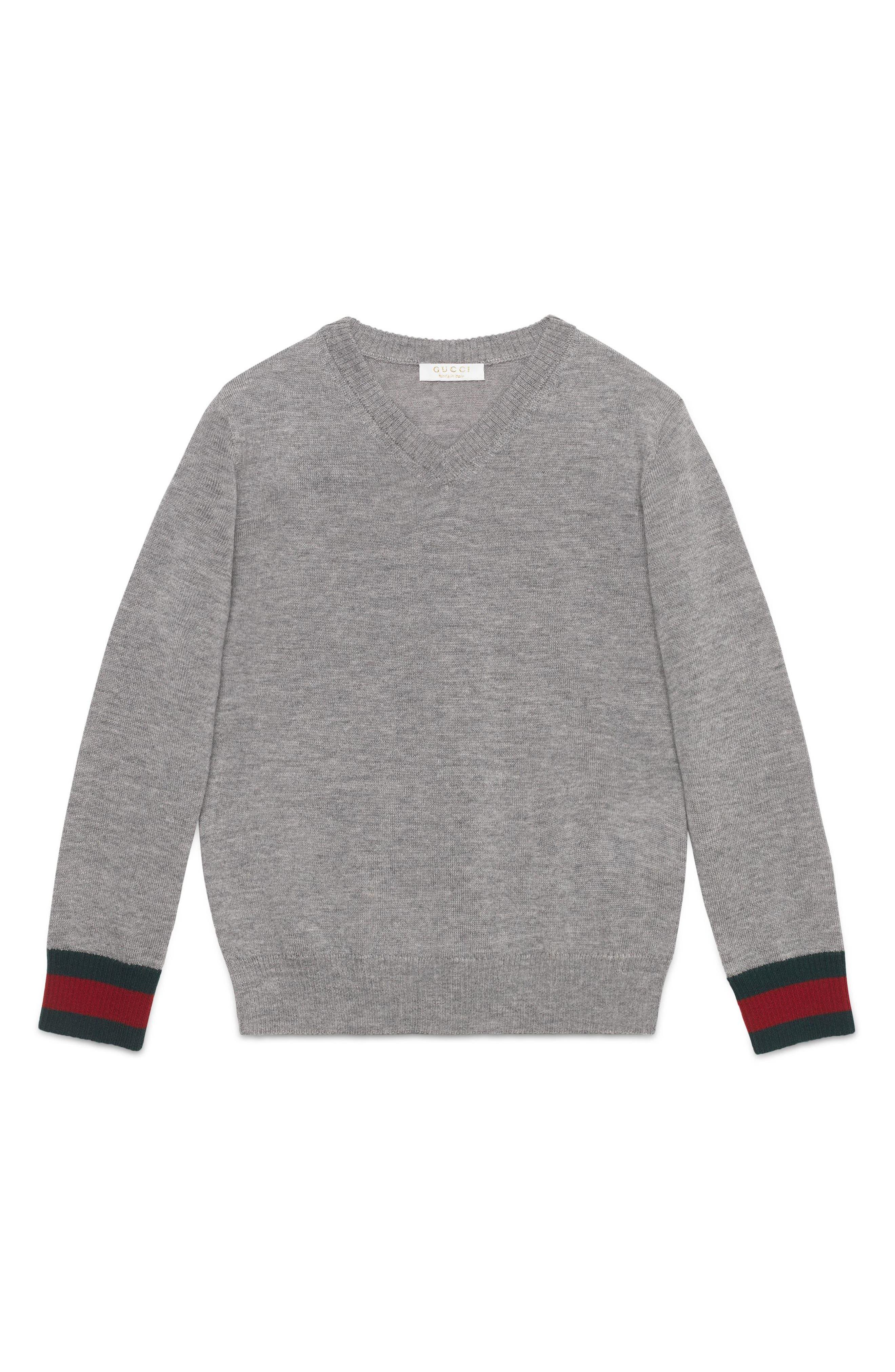 Stripe Cuff V-Neck Merino Wool Sweater,                             Alternate thumbnail 2, color,                             GREY MULTI