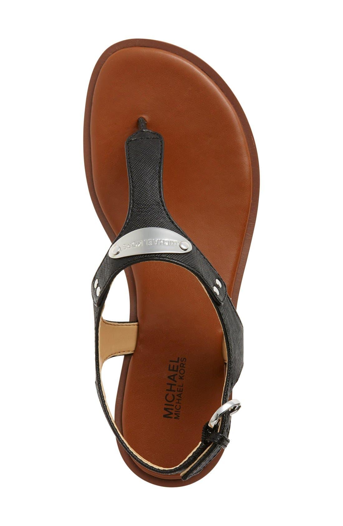 'Plate' Thong Sandal,                             Alternate thumbnail 3, color,                             BLACK
