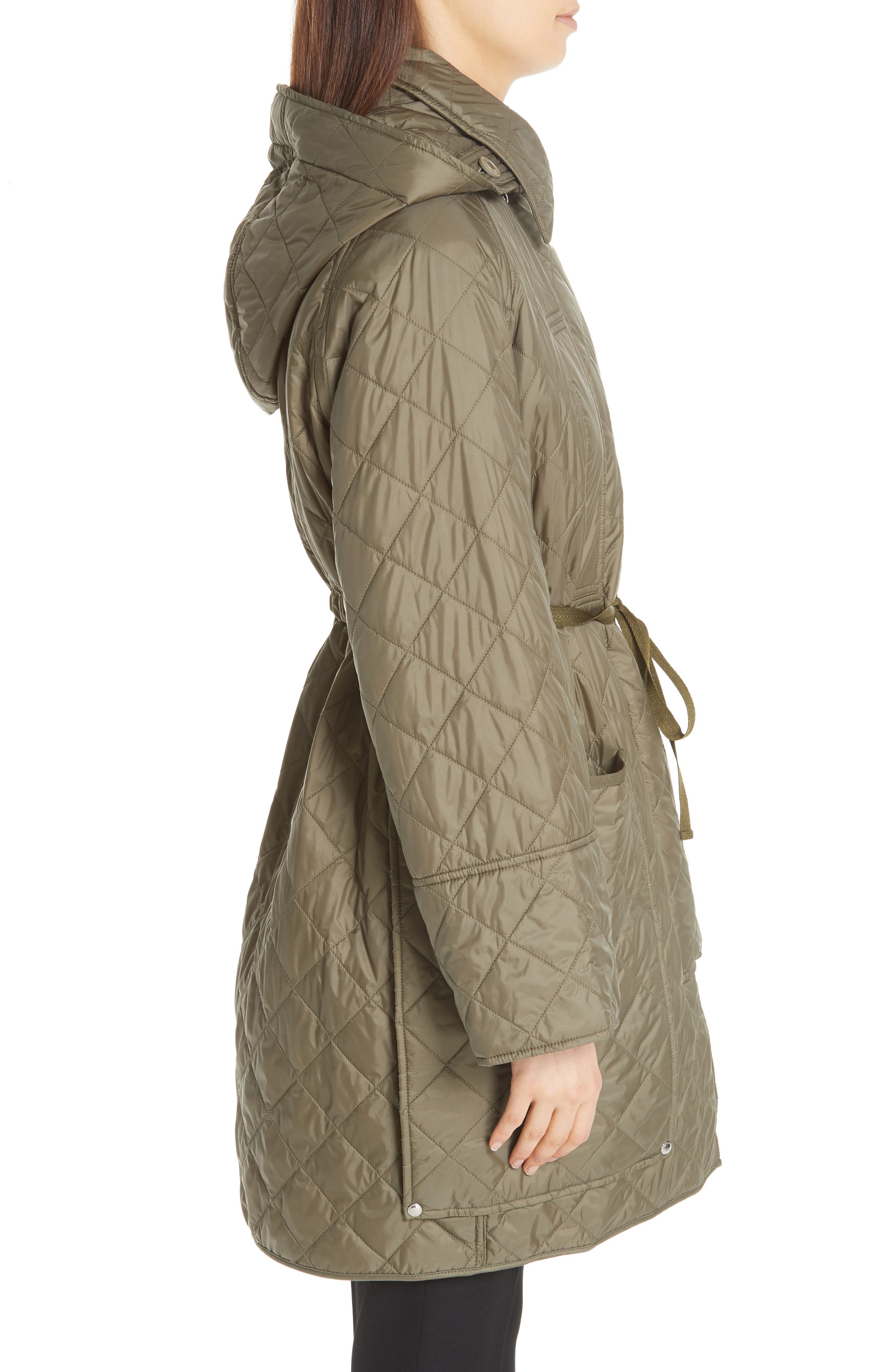 Coleraine Quilted Drawstring Jacket,                             Alternate thumbnail 4, color,                             CADET GREEN