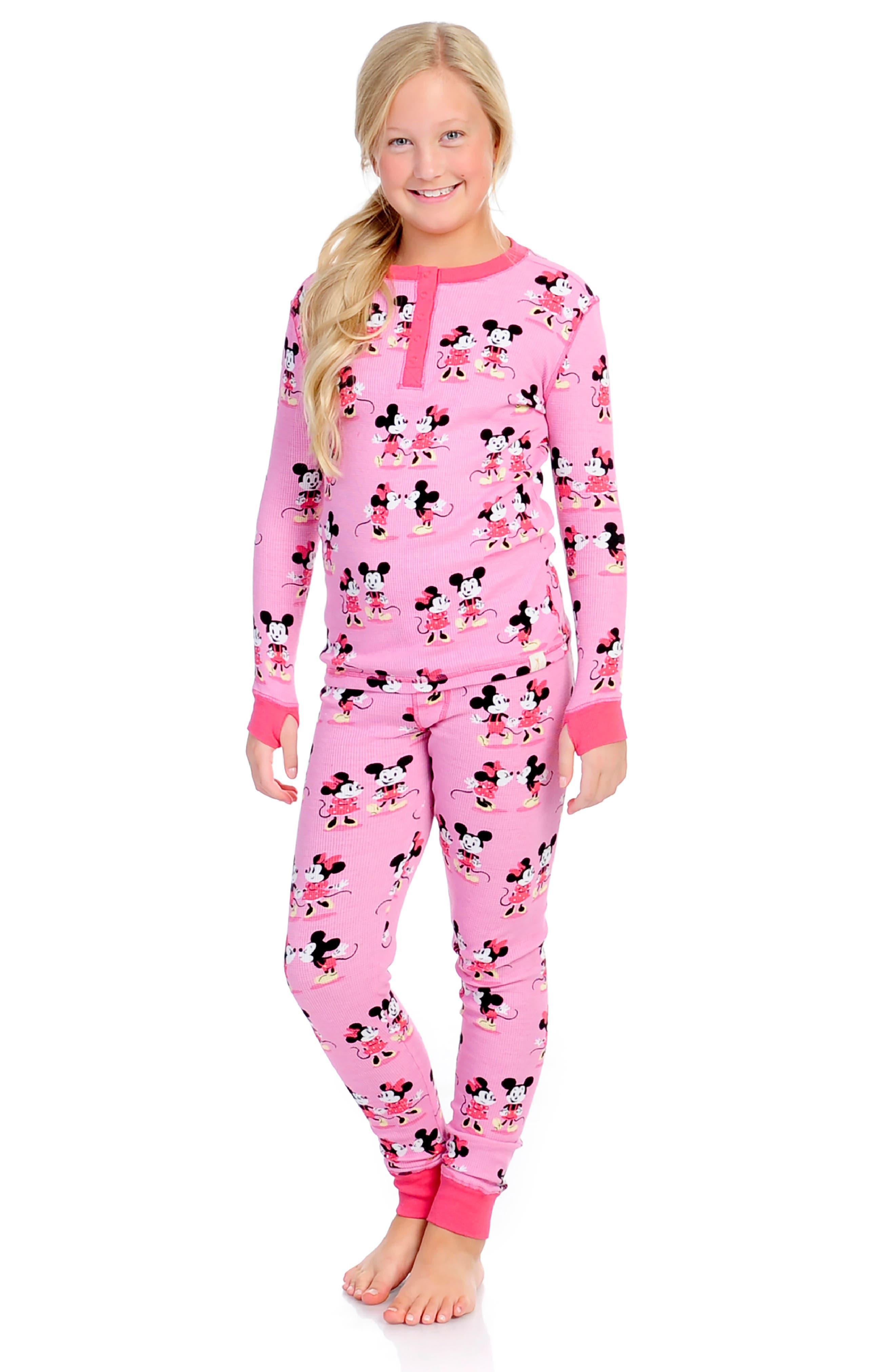MUNKI MUNKI,                             Minnie Mickey Fitted Two-Piece Pajamas,                             Alternate thumbnail 3, color,                             650