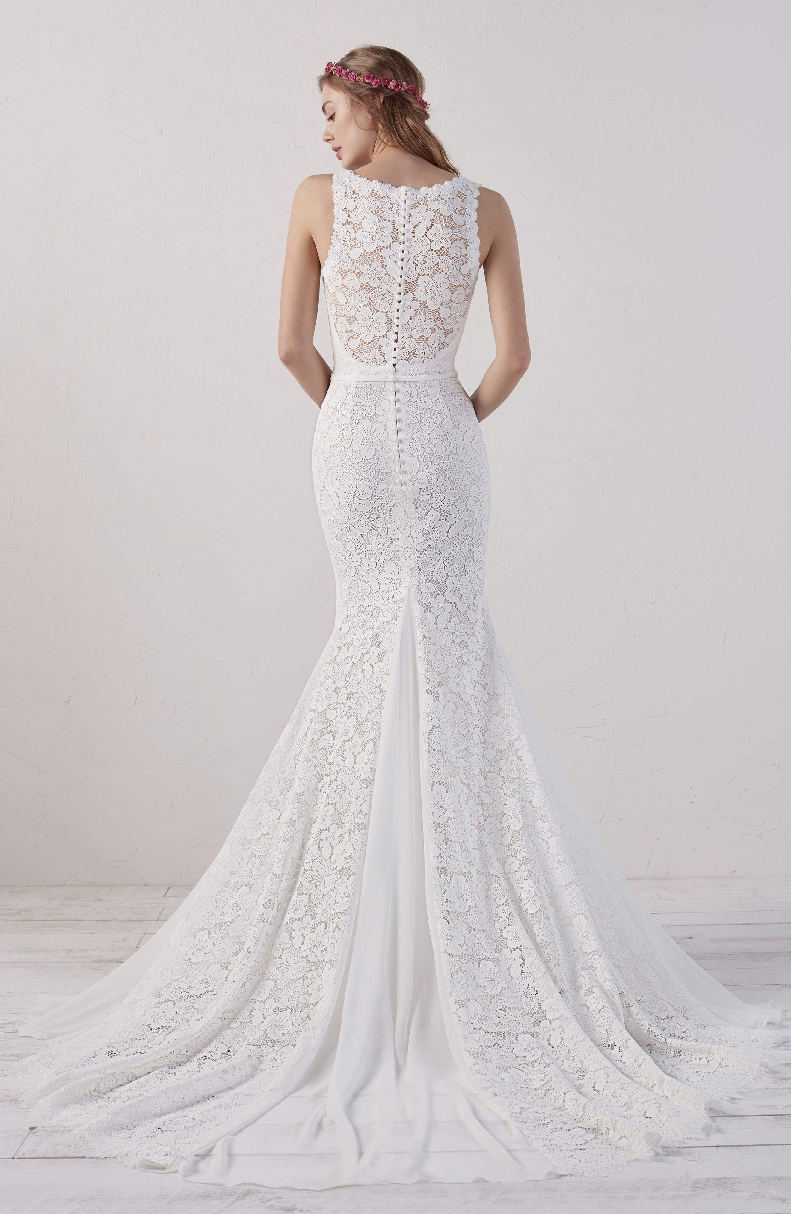 Eladia Lace Mermaid Gown,                             Alternate thumbnail 2, color,                             OFF WHITE/ CRST