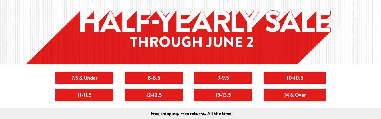Half-Yearly Sale: save up to 50% through June 2. Free shipping. Free returns. All the time.