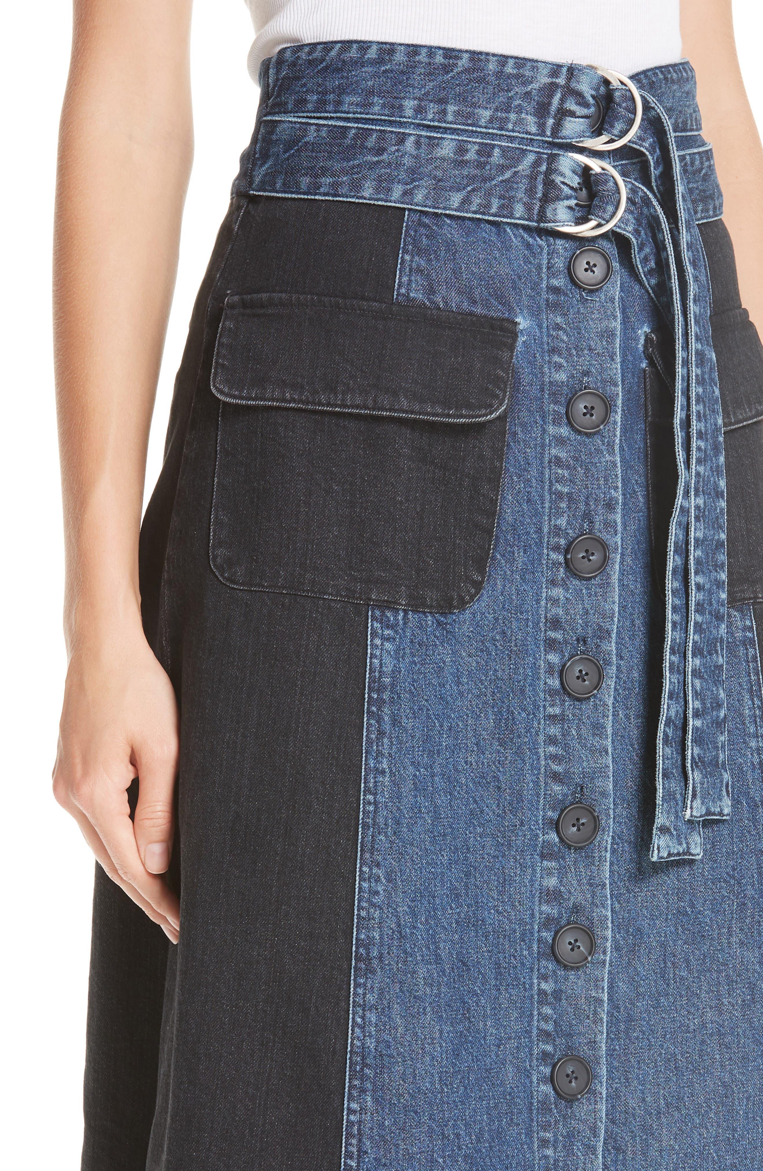 Bleu Bicolor Denim Midi Skirt,                             Alternate thumbnail 4, color,                             INDIGO/ BLACK