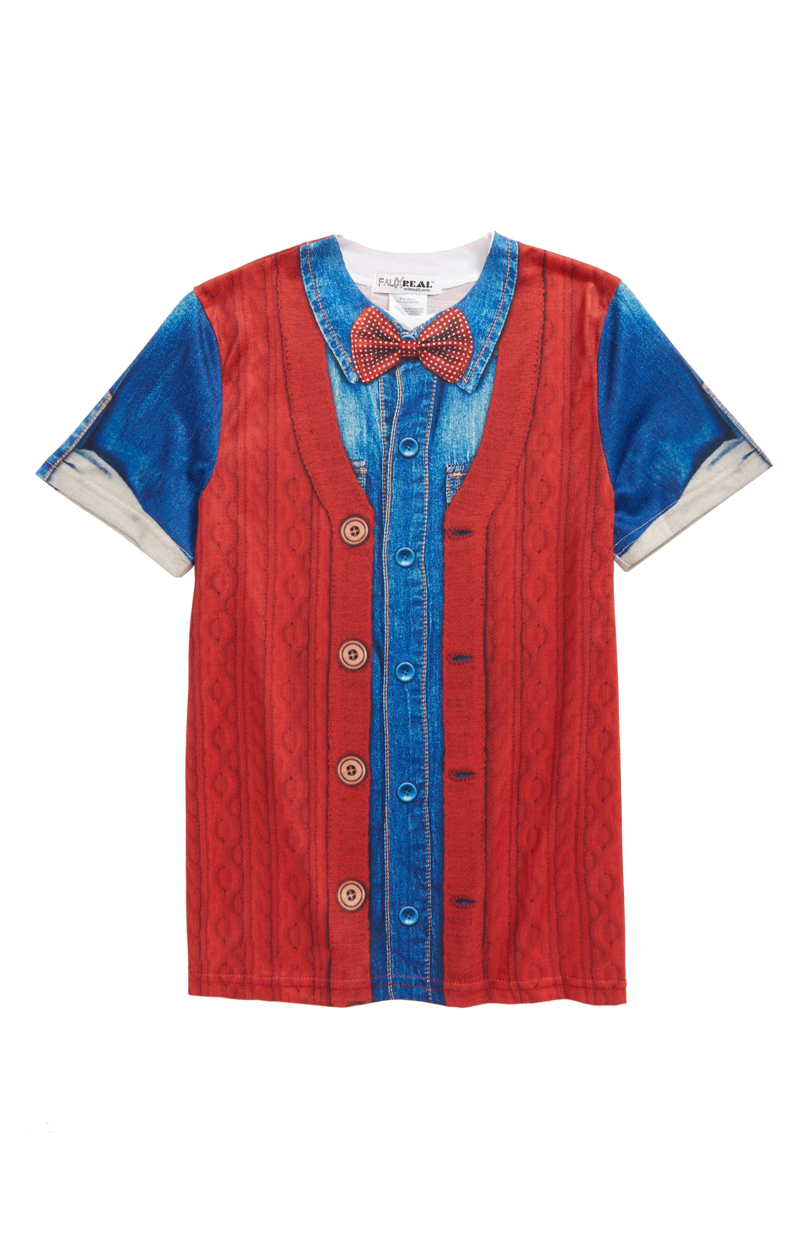 Hipster Bow Tie & Cardigan Print T-Shirt,                             Main thumbnail 1, color,                             600