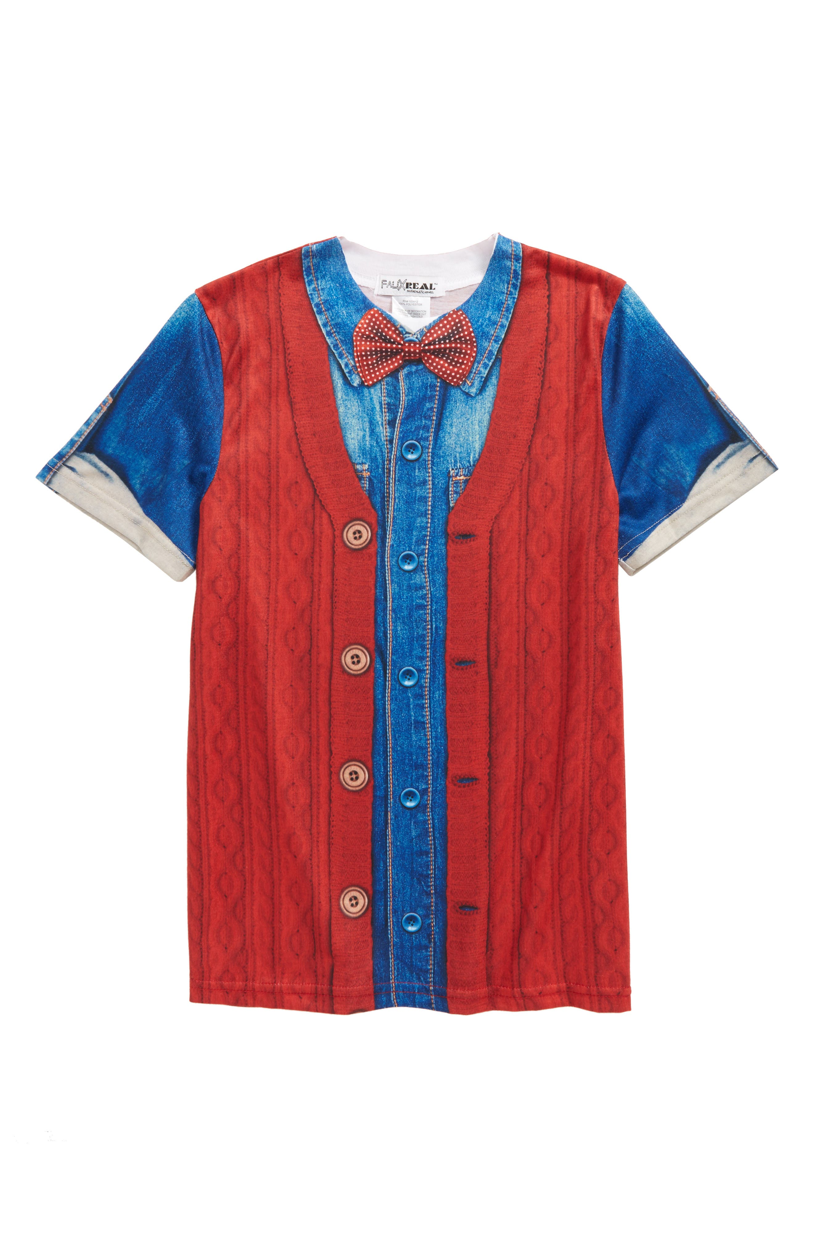 Hipster Bow Tie & Cardigan Print T-Shirt,                         Main,                         color, 600