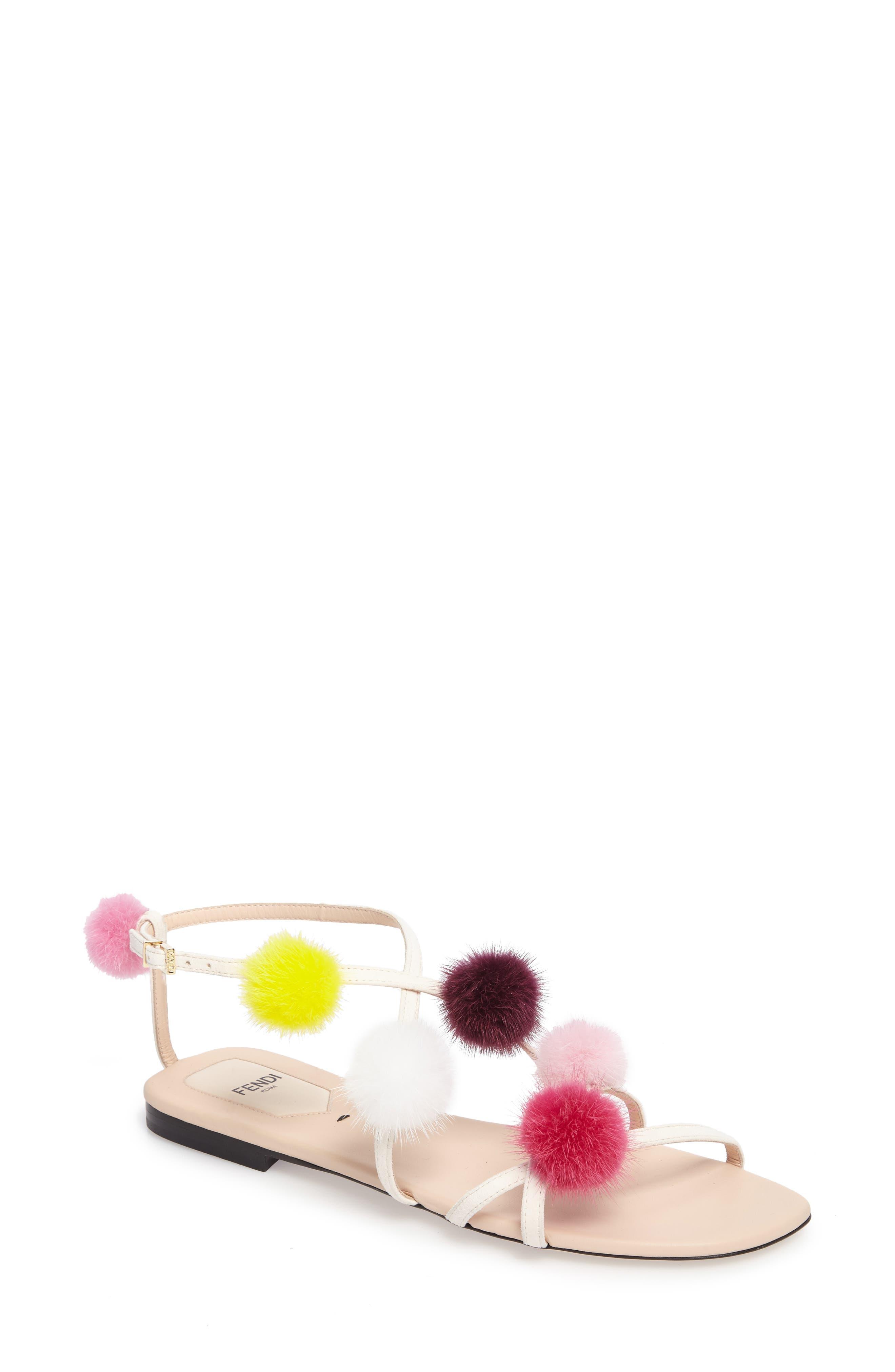 Genuine Mink Fur Pompom Gladiator Sandal,                             Main thumbnail 1, color,                             250