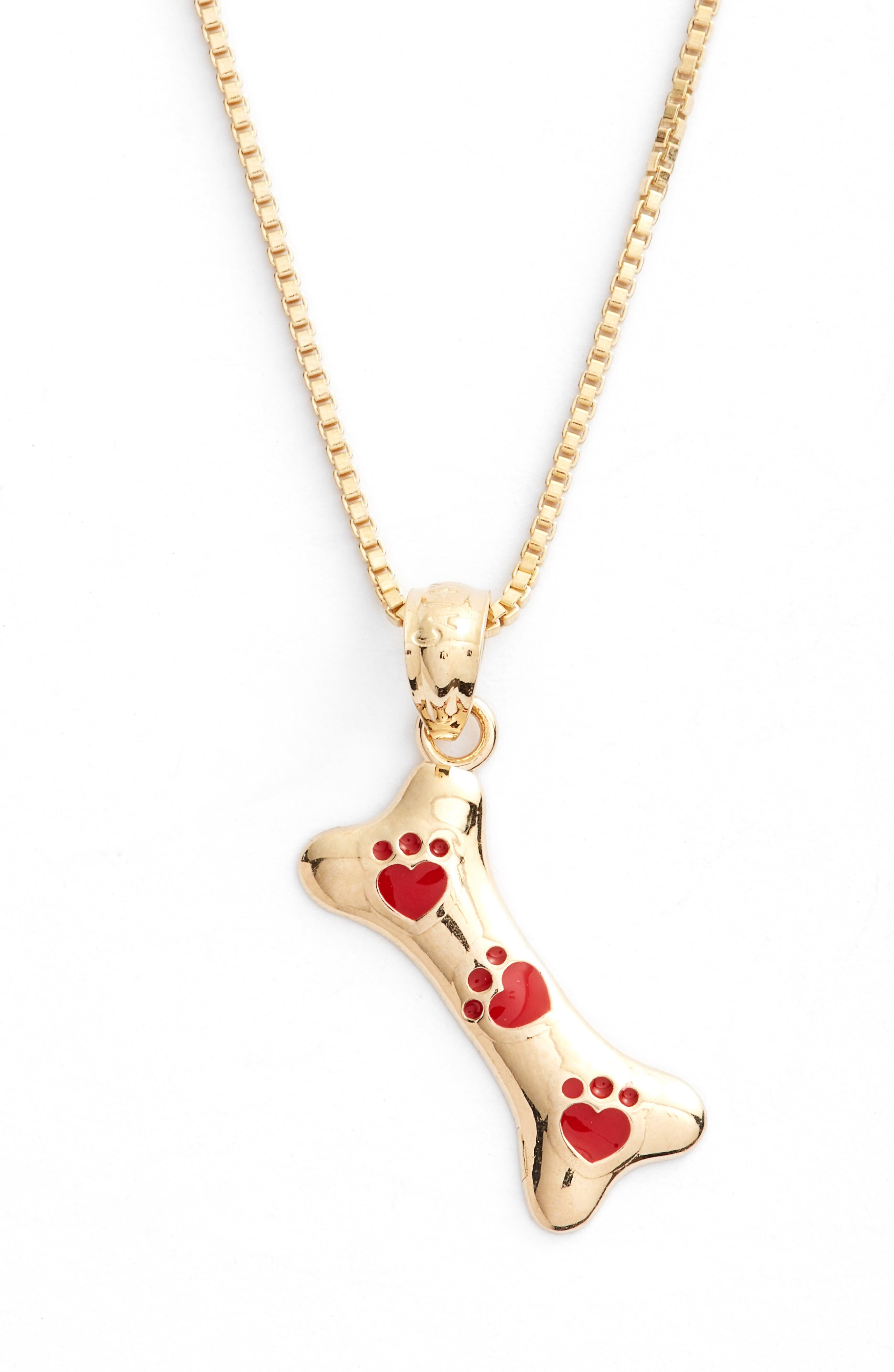 Kardee Kids Dog Bone 14k Gold Pendant Necklace,                             Alternate thumbnail 2, color,                             GOLD