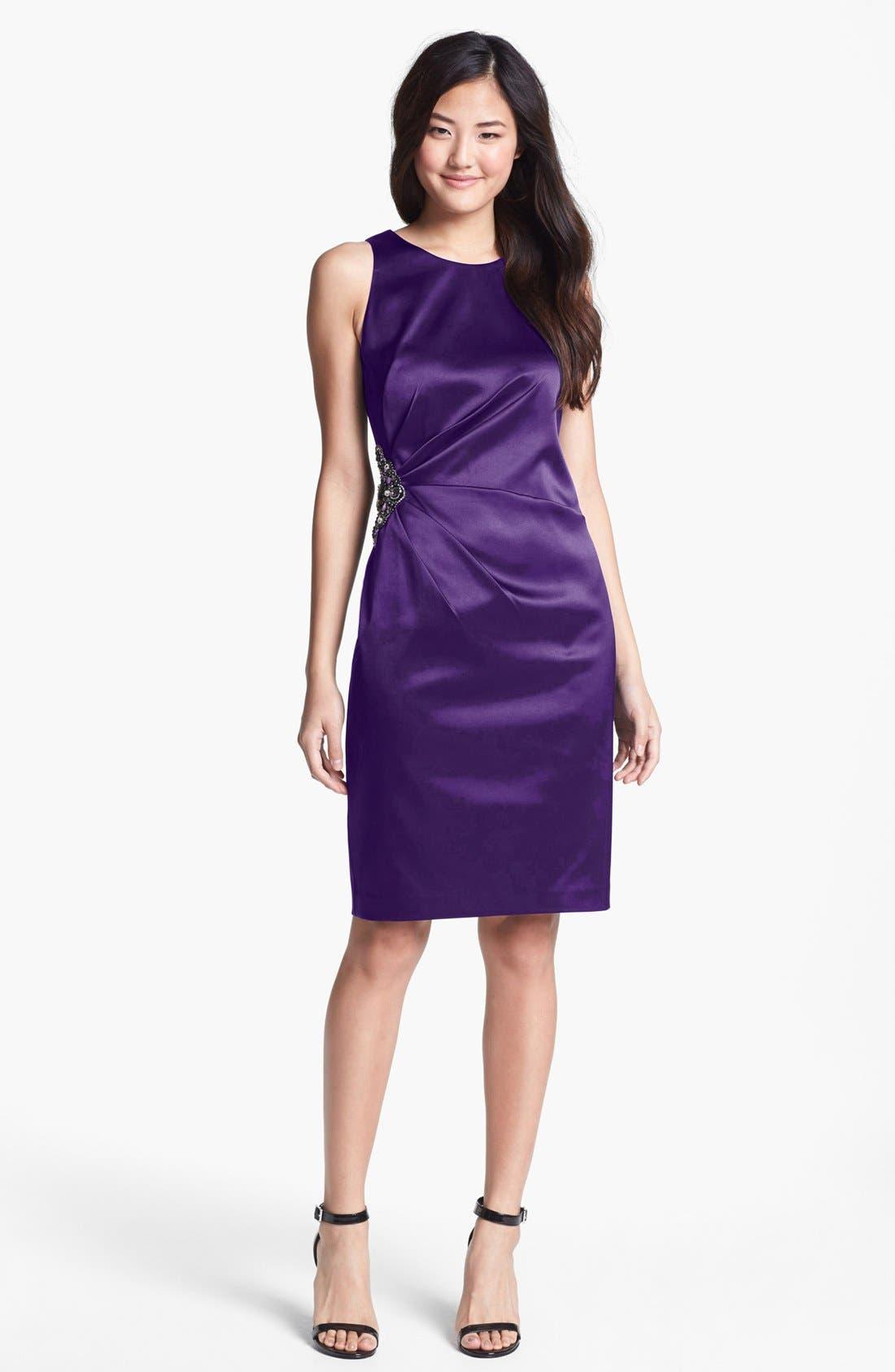Embellished Side Ruched Sheath Dress,                             Main thumbnail 4, color,