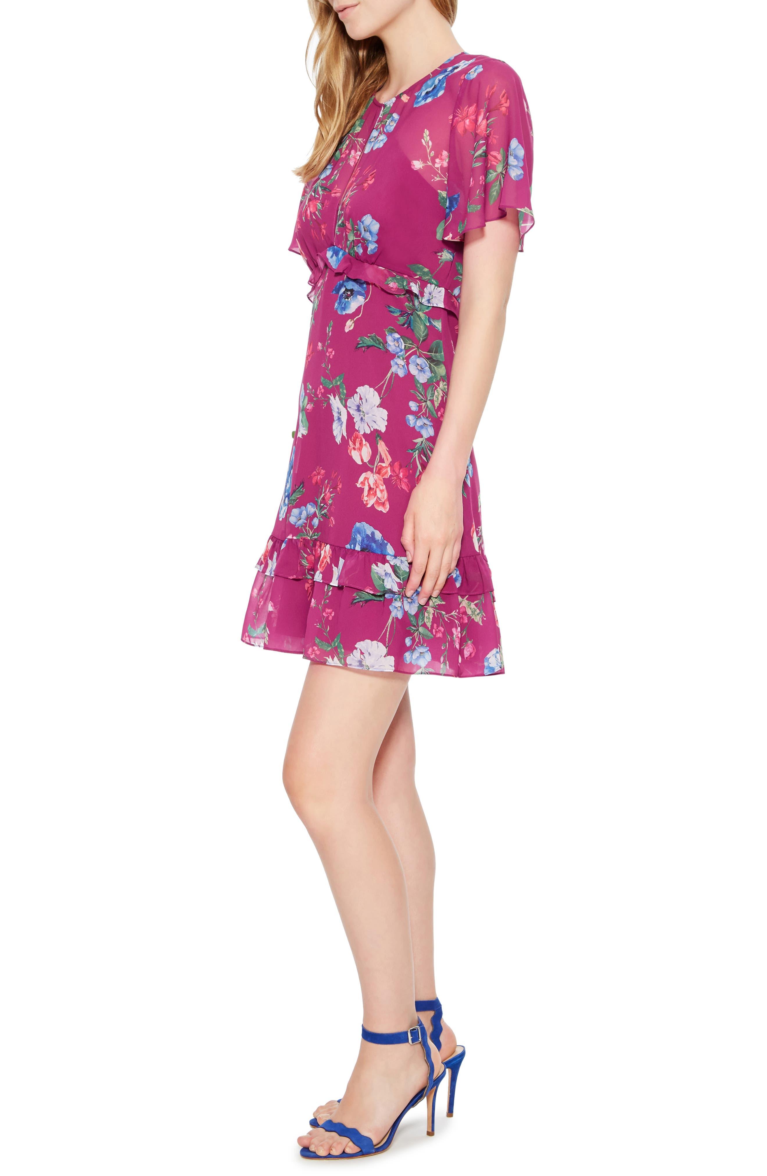 Marina Tiered Ruffle Dress,                             Alternate thumbnail 3, color,                             405