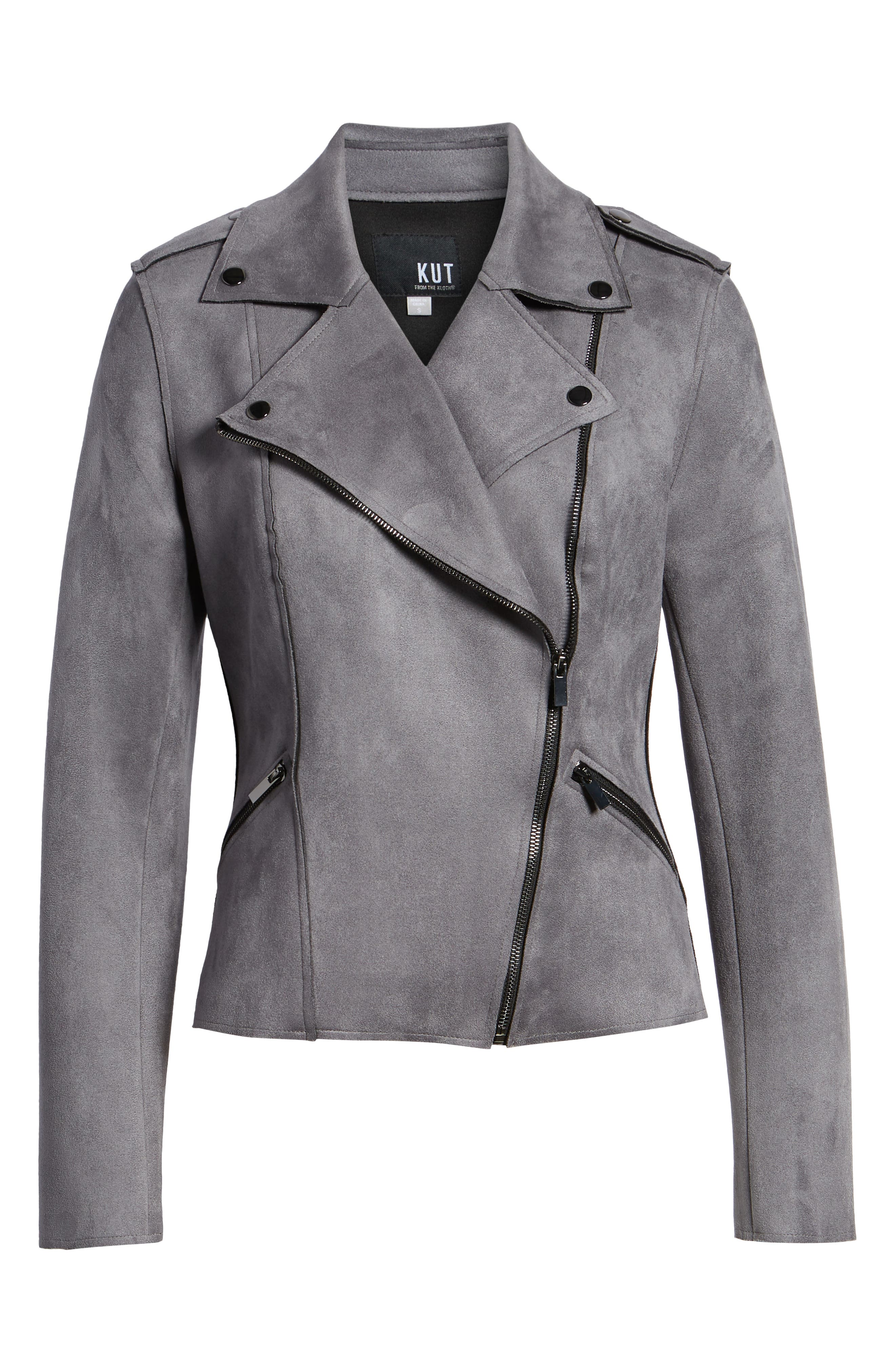 KUT FROM THE KLOTH,                             Haddie Faux Suede Moto Jacket,                             Alternate thumbnail 6, color,                             026
