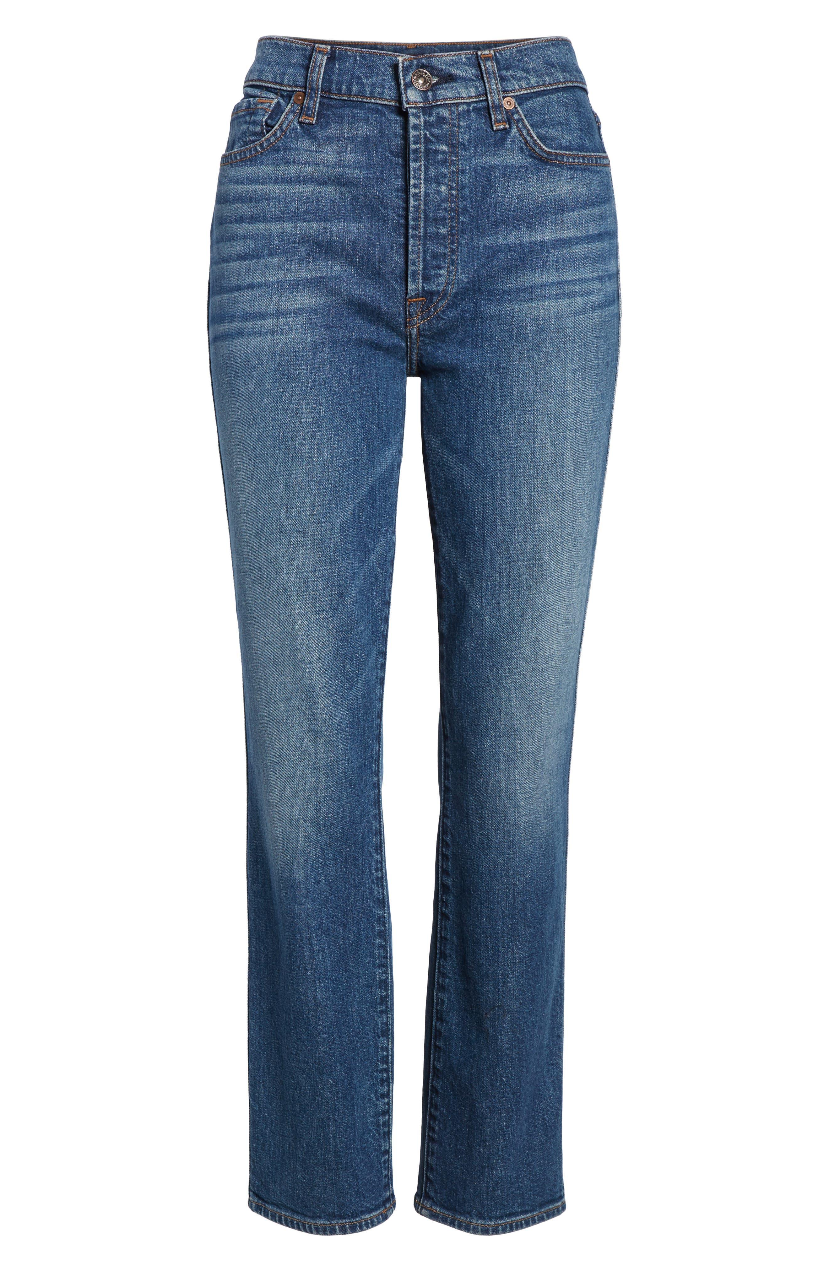 Edie High Waist Crop Straight Leg Jeans,                             Alternate thumbnail 26, color,