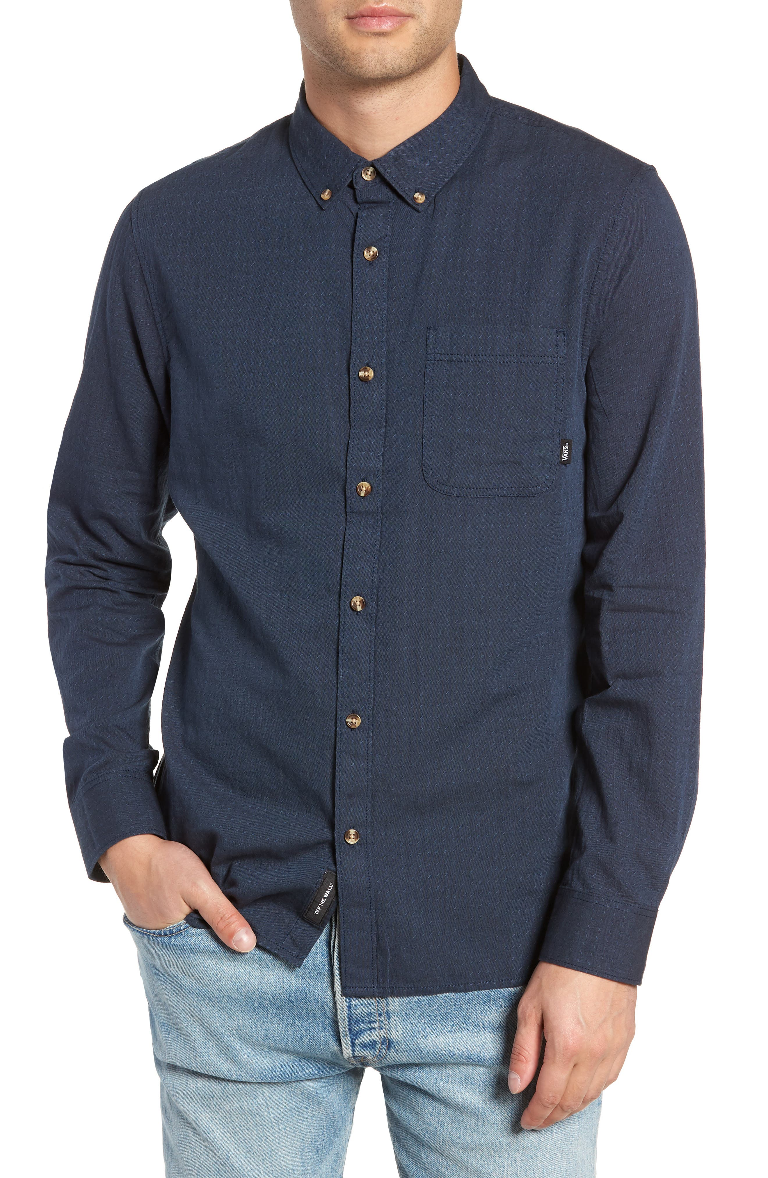Wakefield Woven Shirt,                         Main,                         color, DRESS BLUES