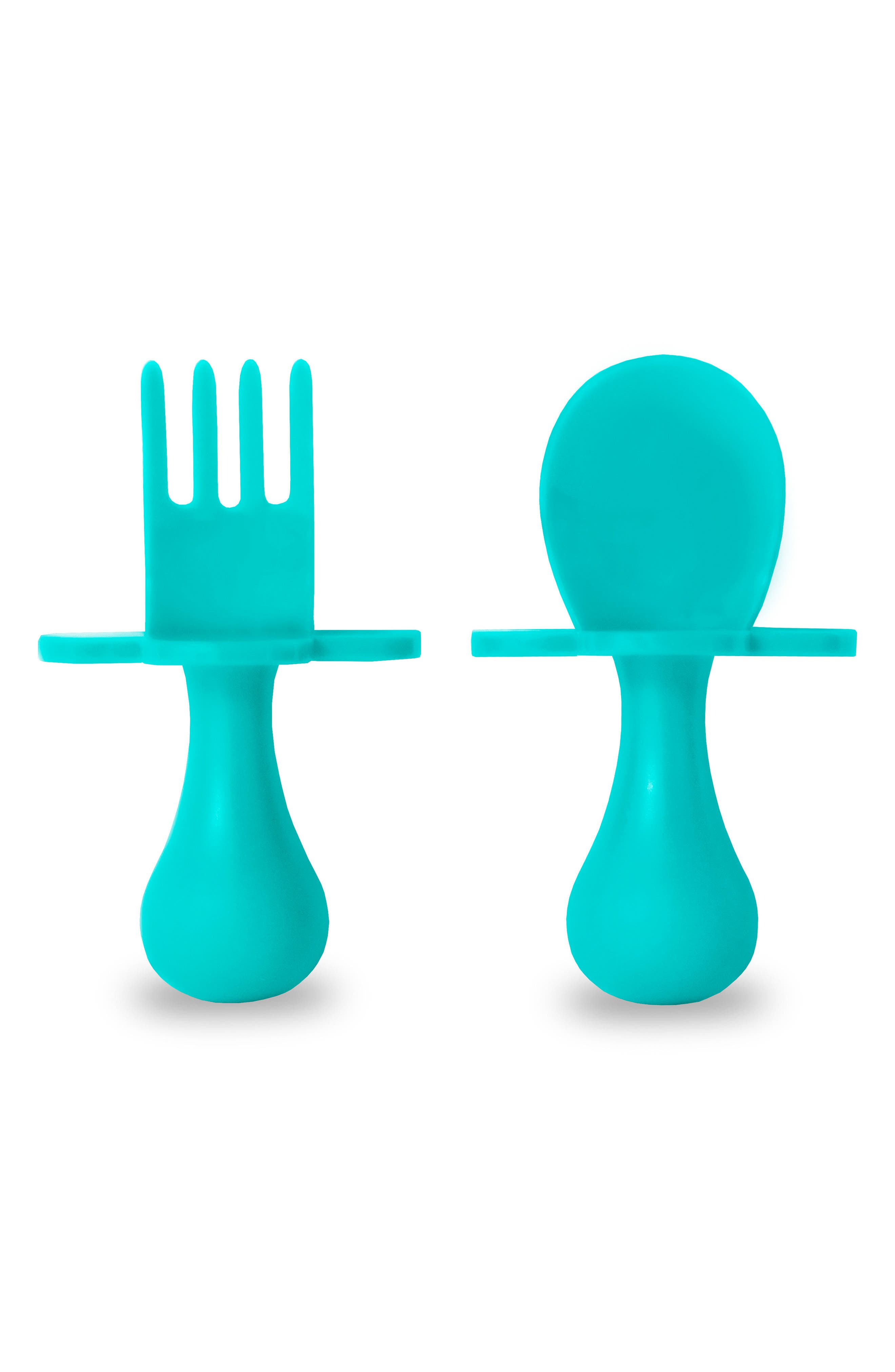 Self Feeding Fork & Spoon Set,                         Main,                         color, TEAL