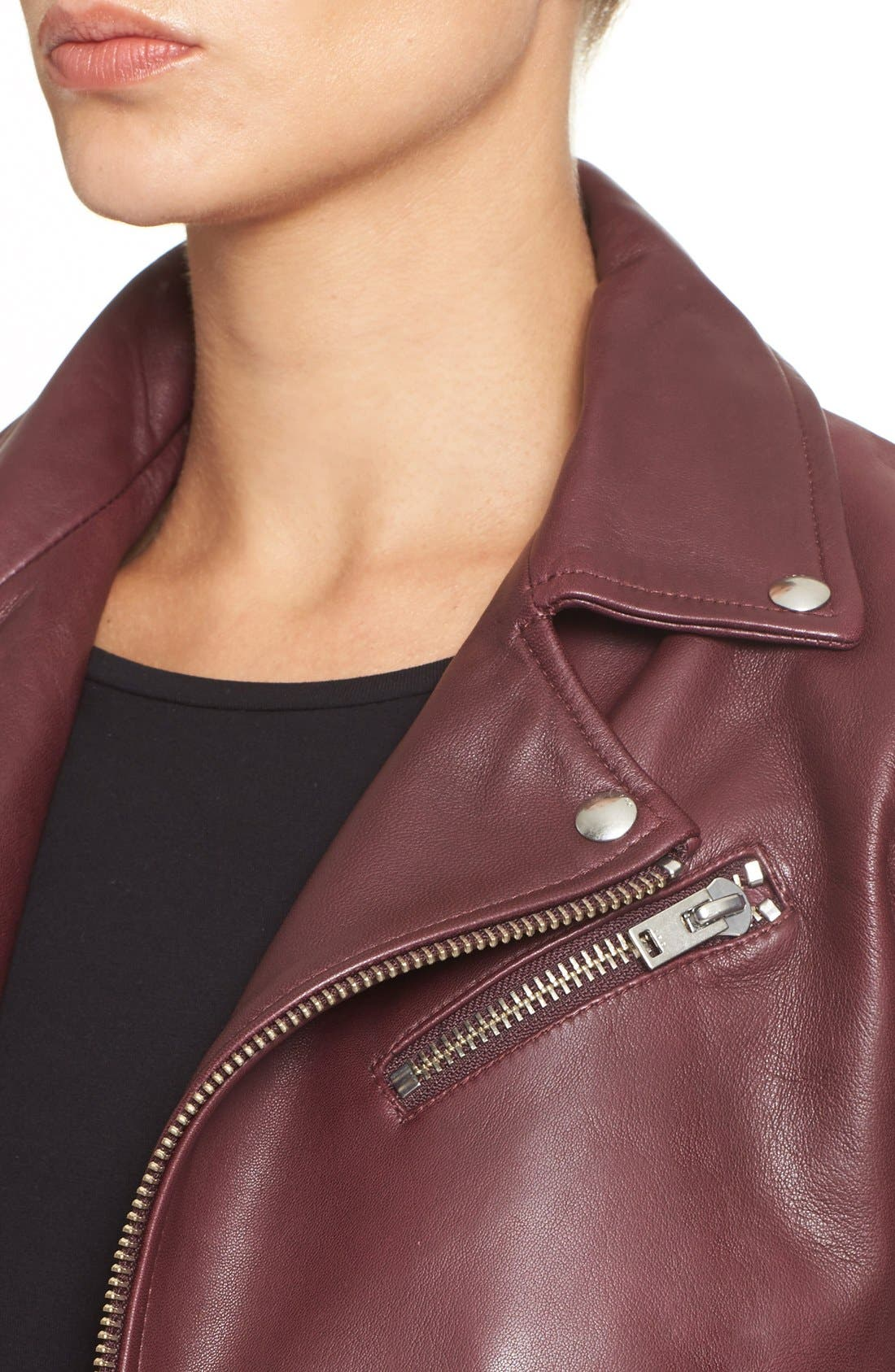 IRO,                             'Gant' Belted Leather Jacket,                             Alternate thumbnail 5, color,                             950