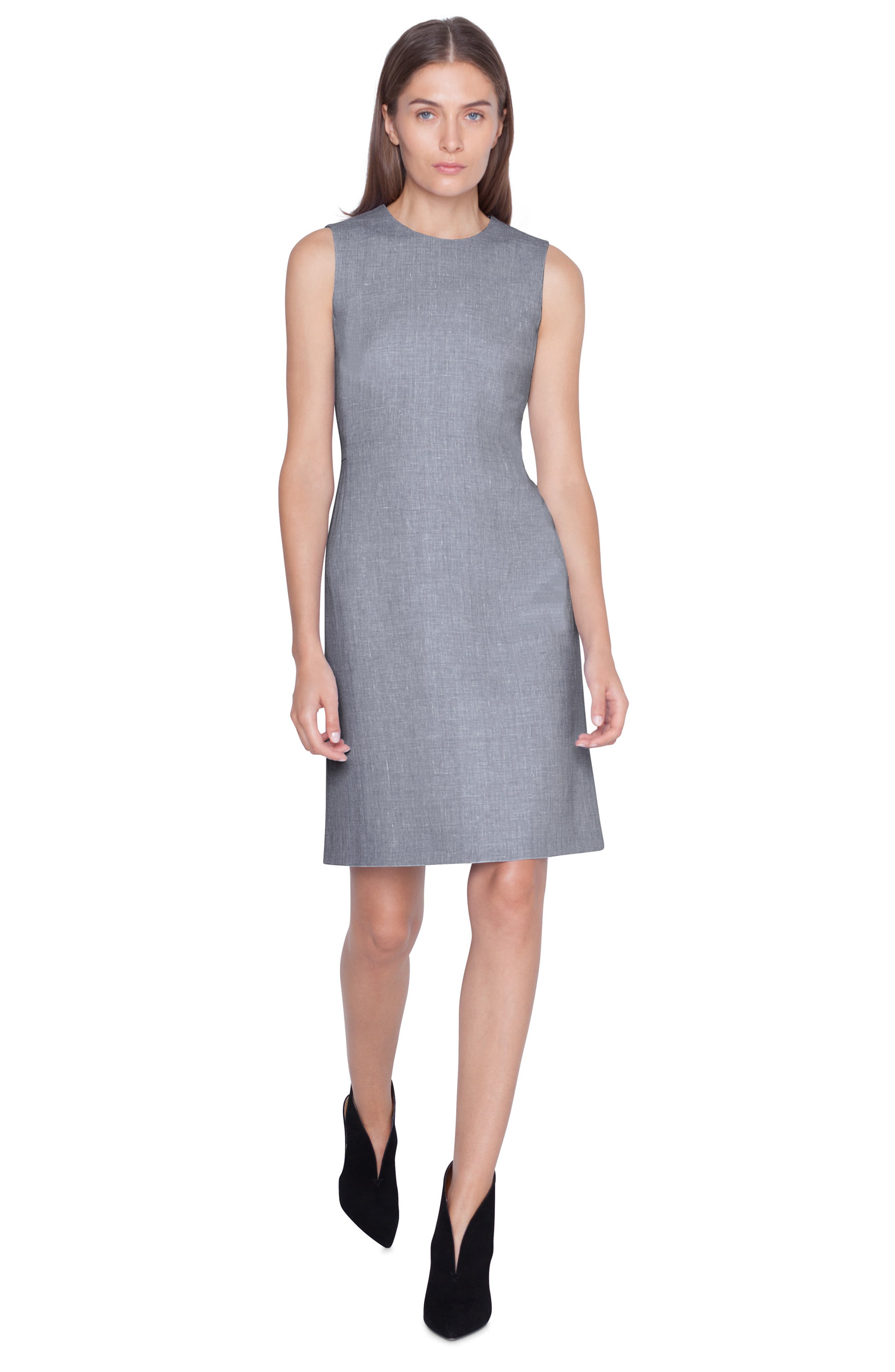 AKRIS,                             Linen & Wool Seamed Sheath Dress,                             Alternate thumbnail 3, color,                             TITAN