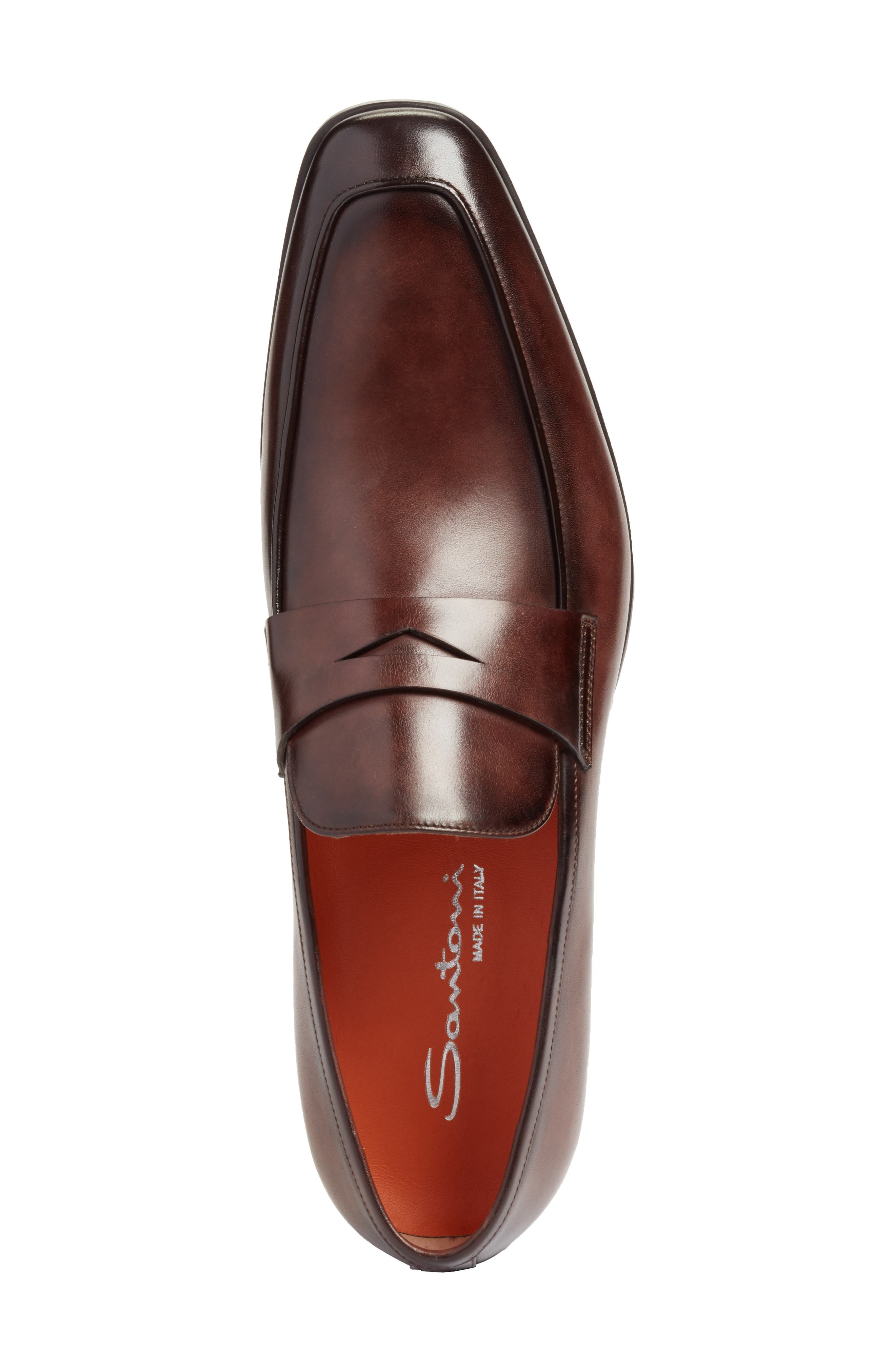 Fisk Square Toe Penny Loafer,                             Alternate thumbnail 5, color,                             BROWN LEATHER