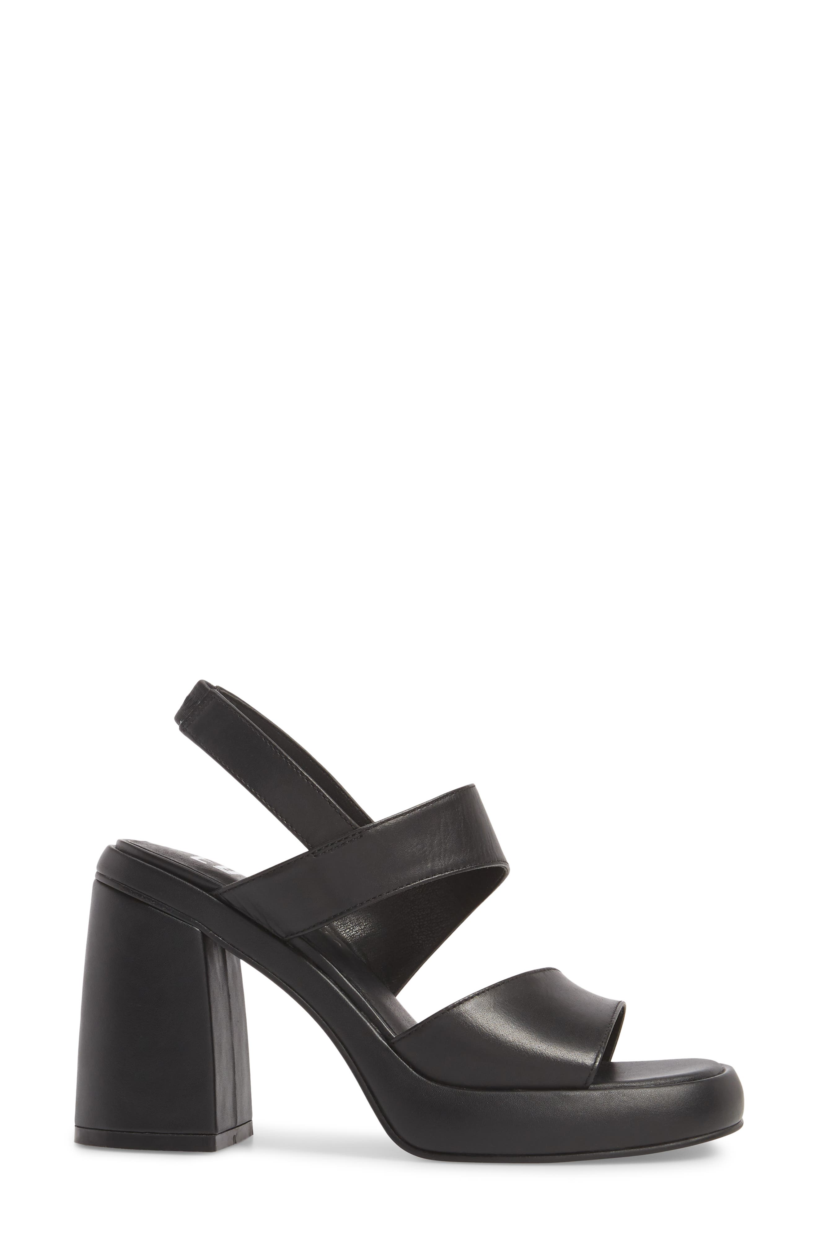 Block Heel Sandal,                             Alternate thumbnail 3, color,                             BLACK LEATHER