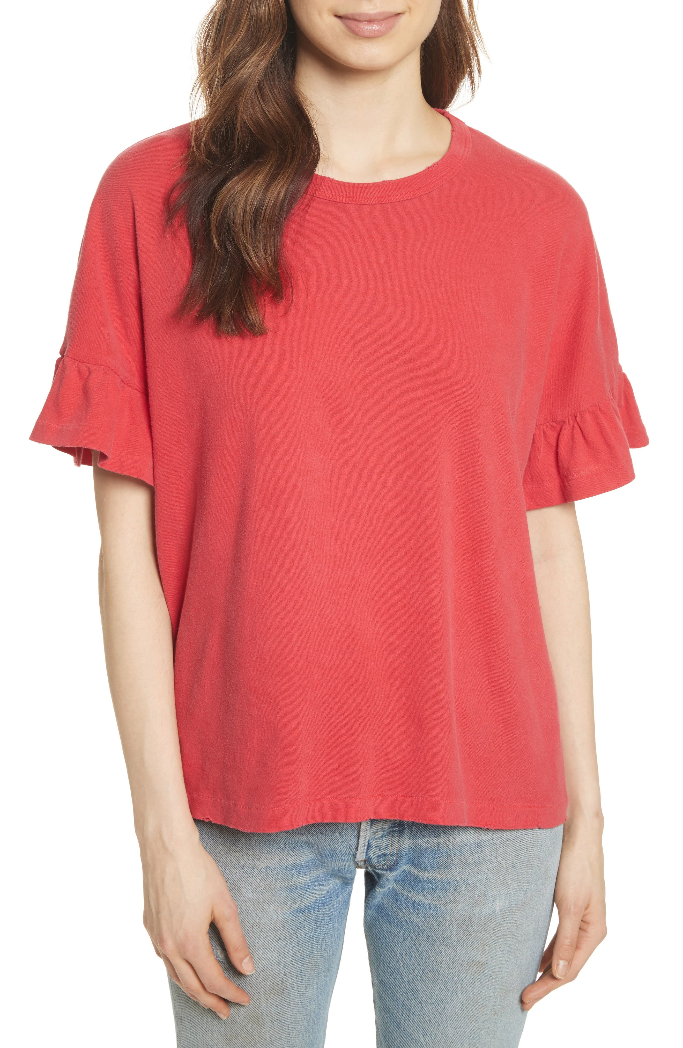 The Ruffle Sleeve Tee,                             Main thumbnail 1, color,                             600