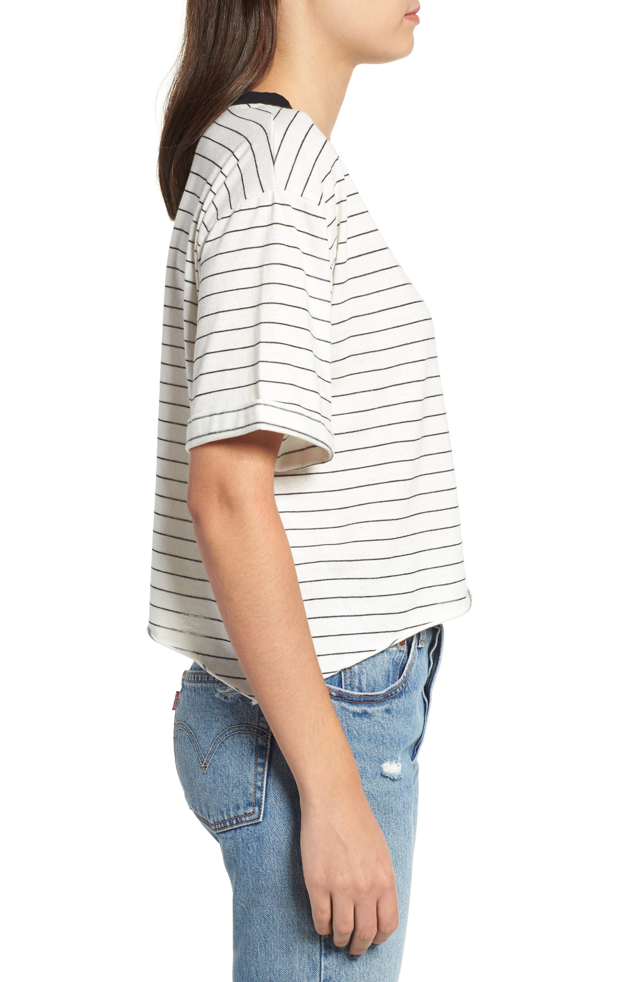 Freddy Crop Ringer Tee,                             Alternate thumbnail 3, color,                             IVORY/ BLACK