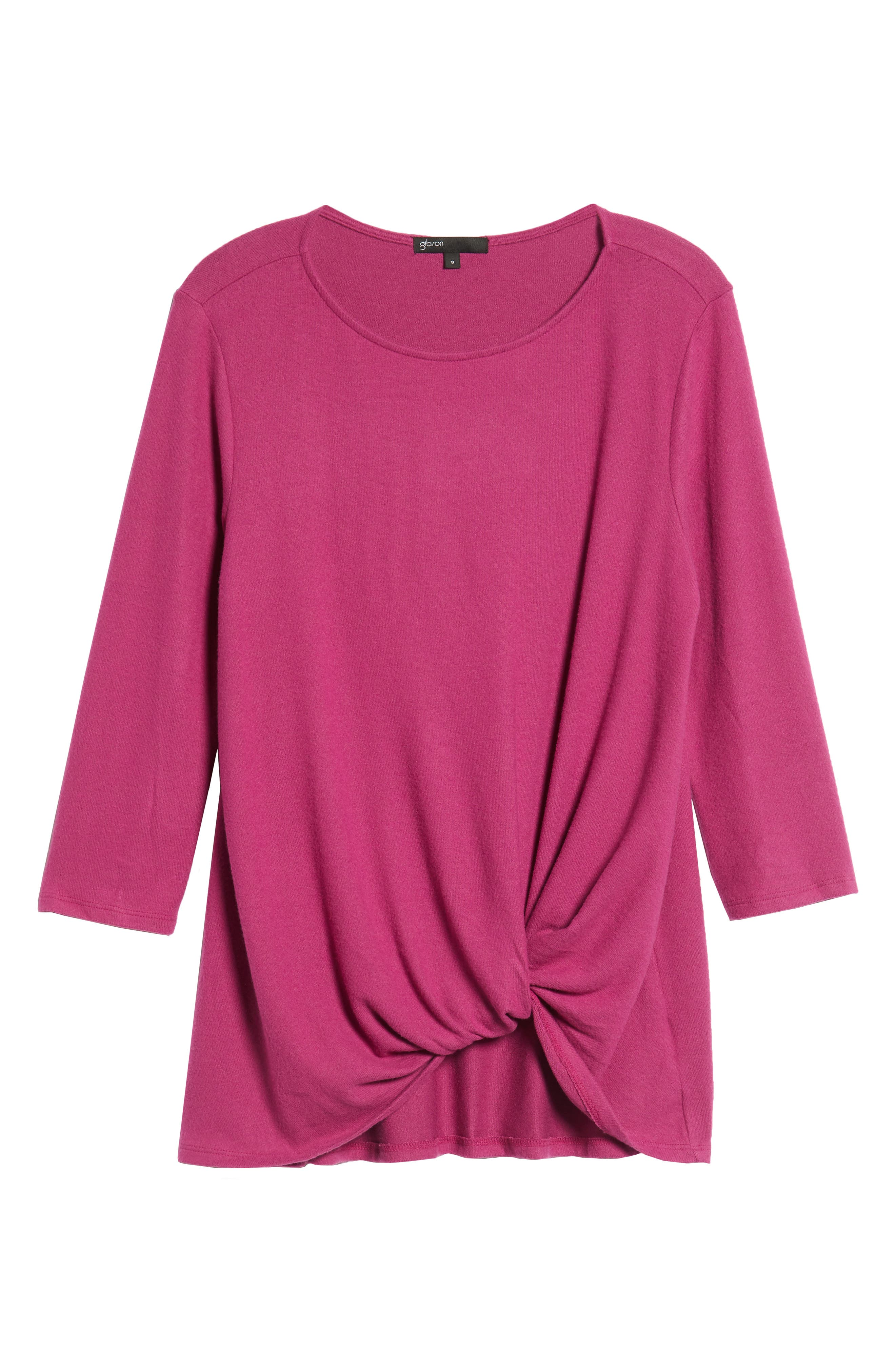 Cozy Twist Front Pullover,                             Alternate thumbnail 6, color,                             PURPLE VINTER SOLID