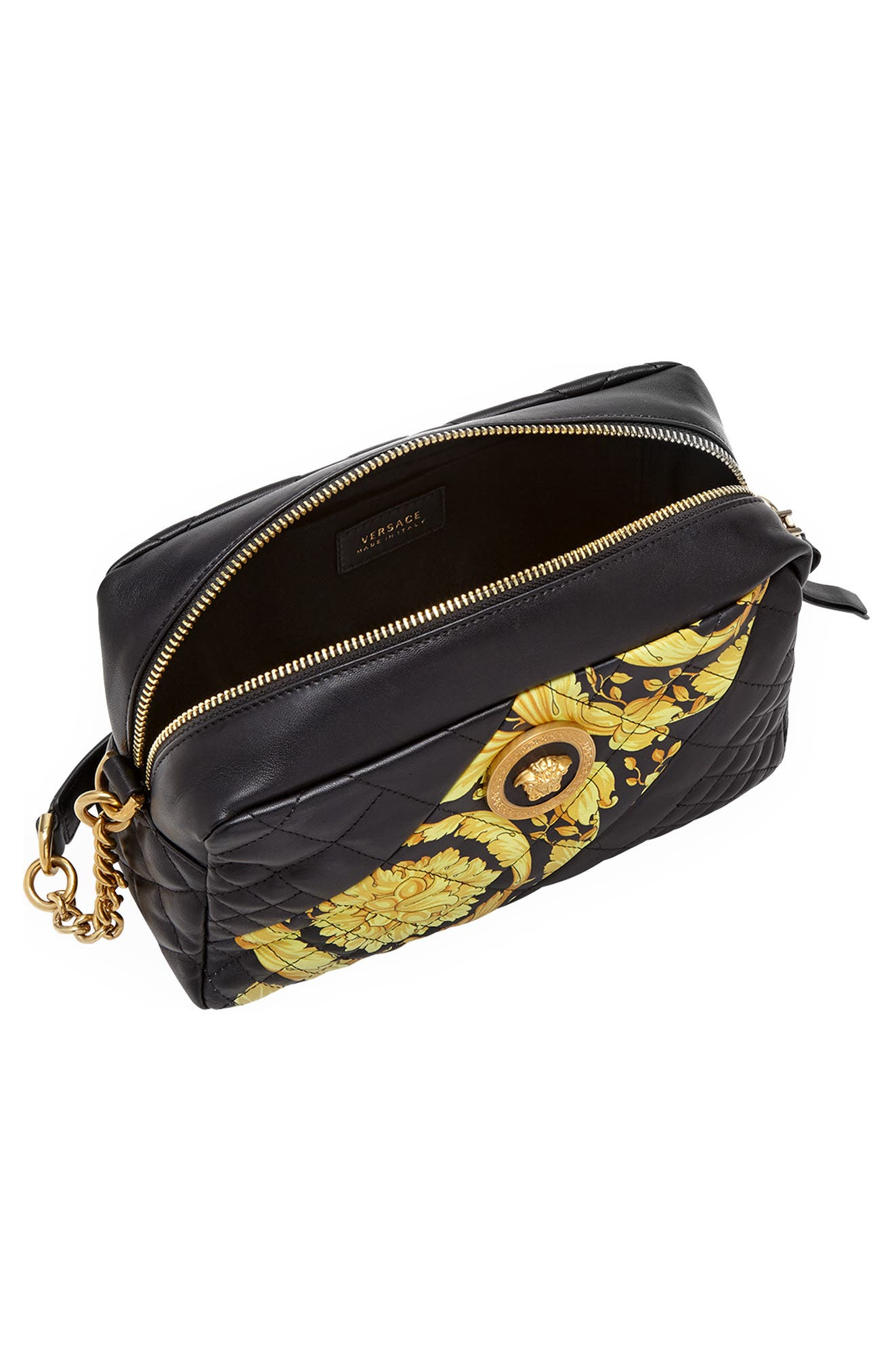 Baroque Icon Quilted Leather Camera Bag,                             Alternate thumbnail 4, color,                             BLACK MULTI/ TRIBUTE GOLD