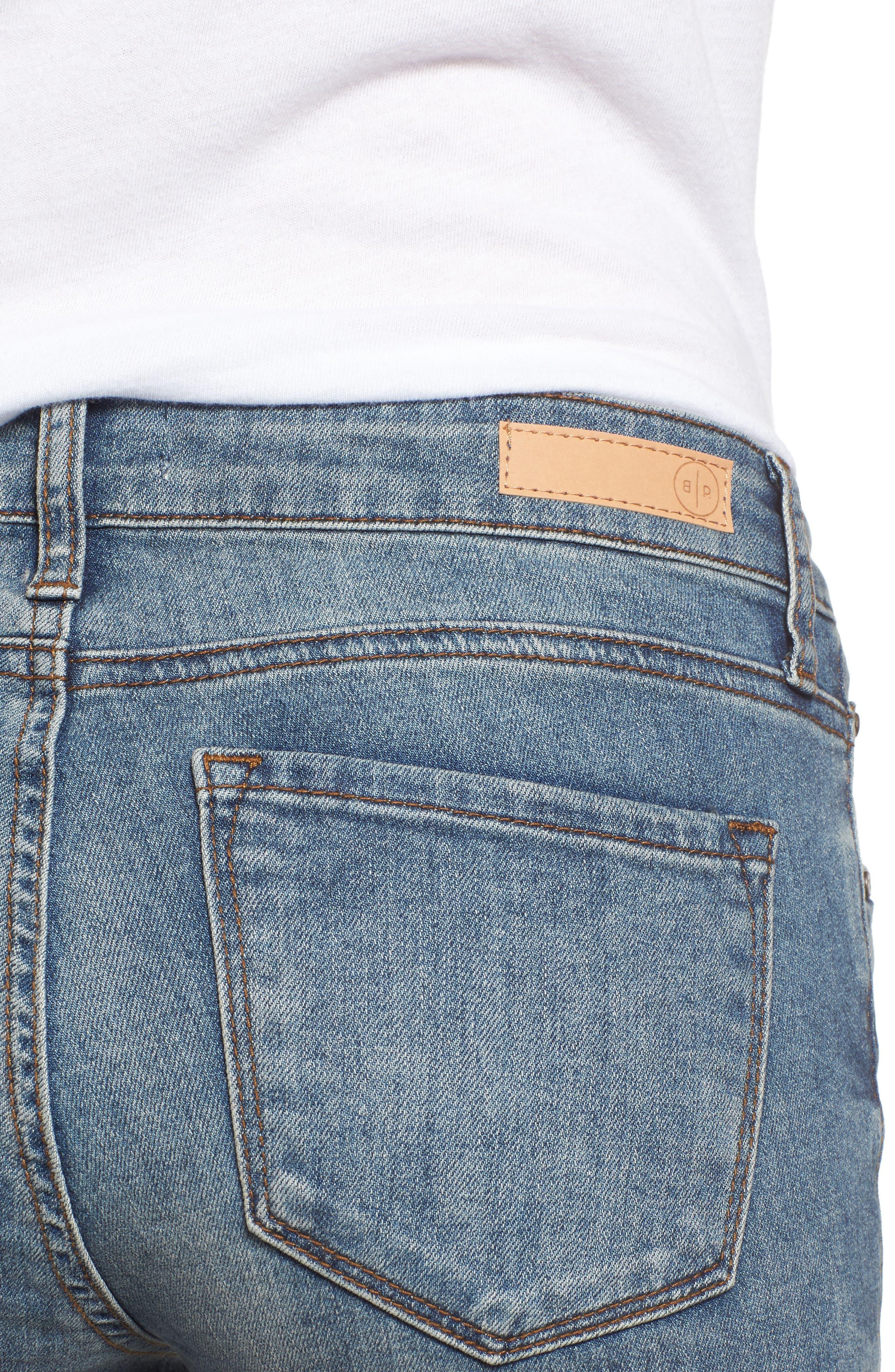 Distressed Skinny Jeans,                             Alternate thumbnail 4, color,                             LIGHT WASH