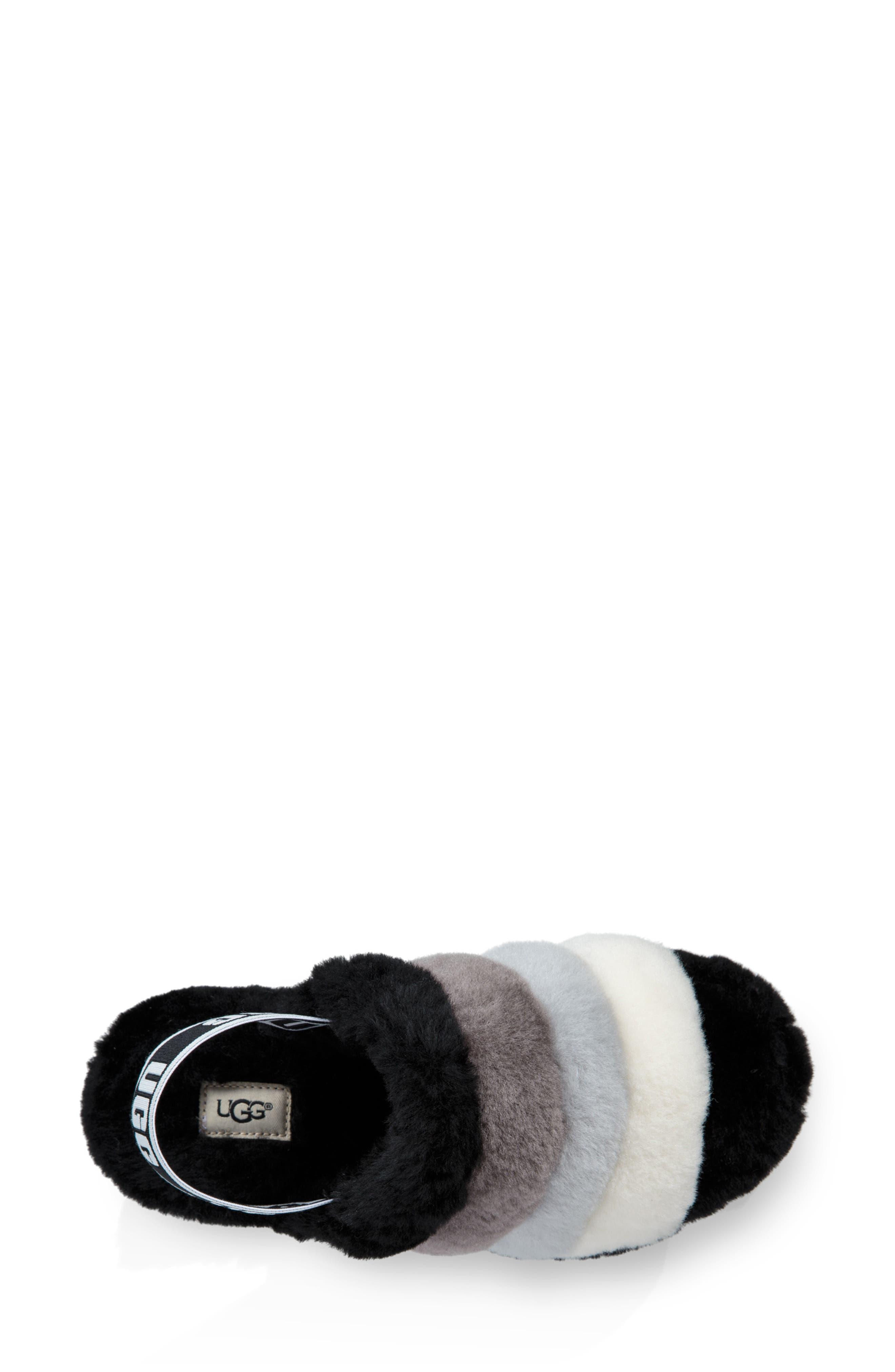 Fluff Yeah Genuine Shearling Slide Slipper,                             Alternate thumbnail 4, color,                             BLACK MULTI