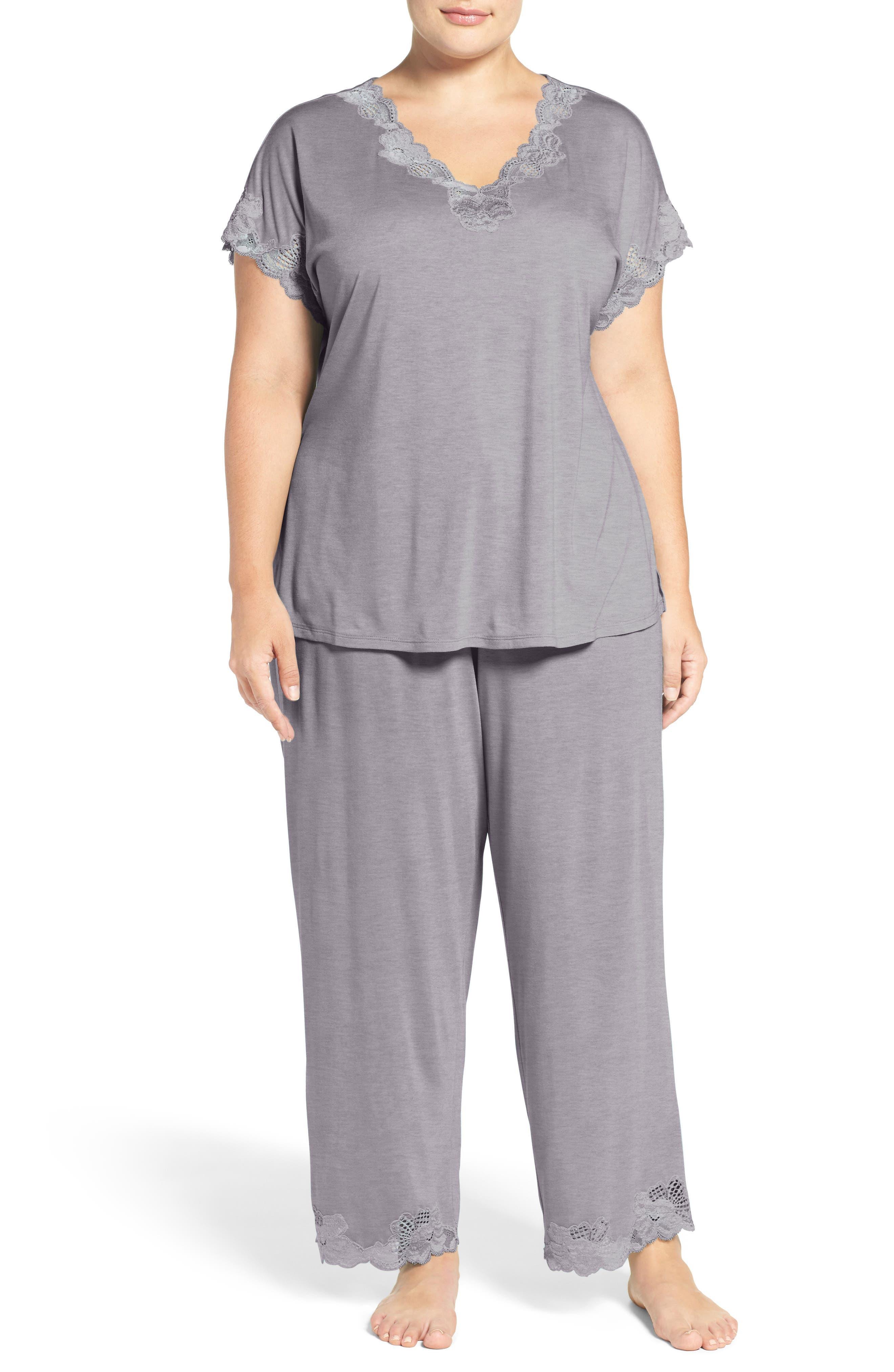 'Zen Floral' Pajamas,                         Main,                         color, PASTEL GREY