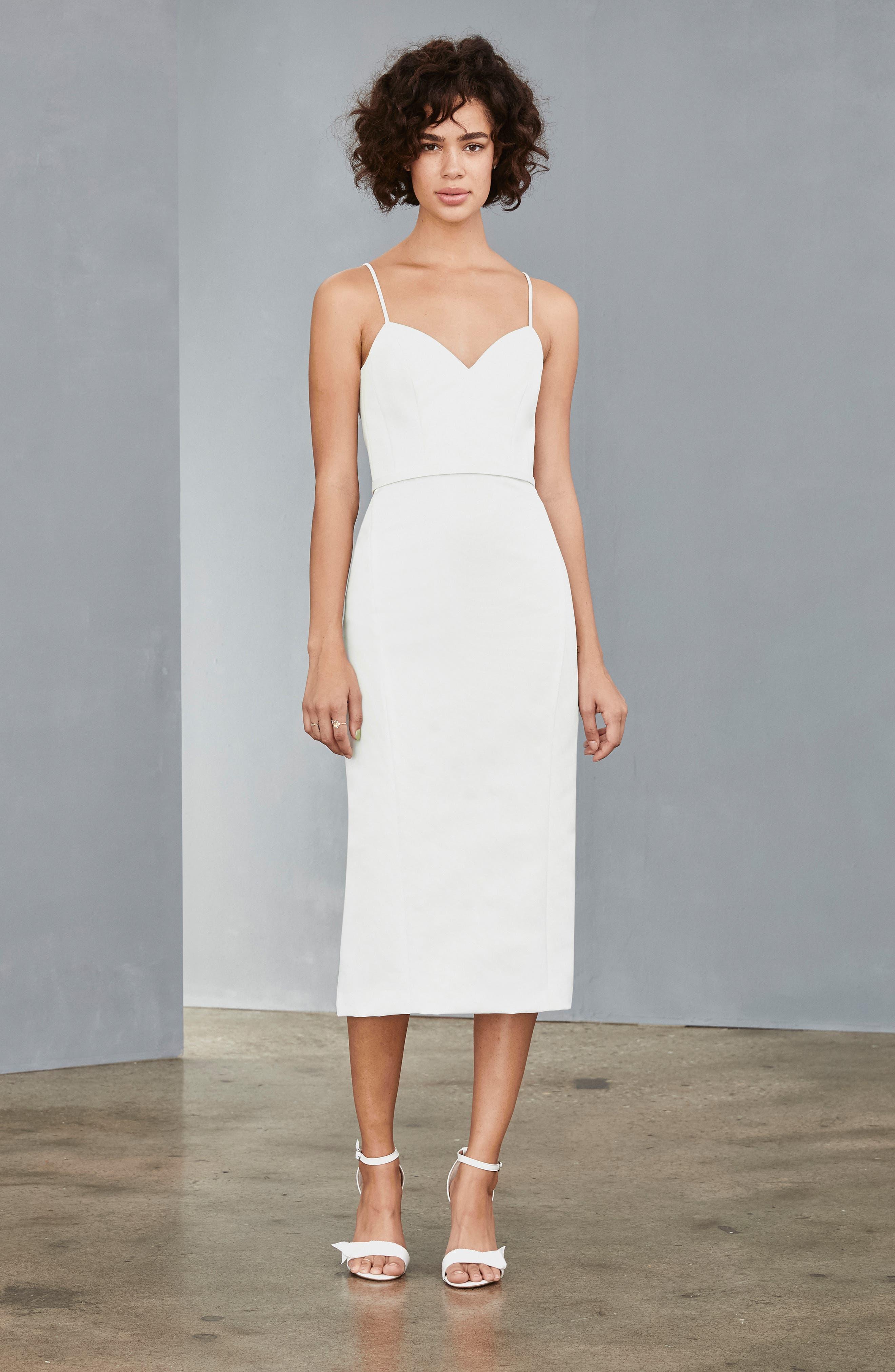 Amsale Bow Back Midi Sheath Dress, White
