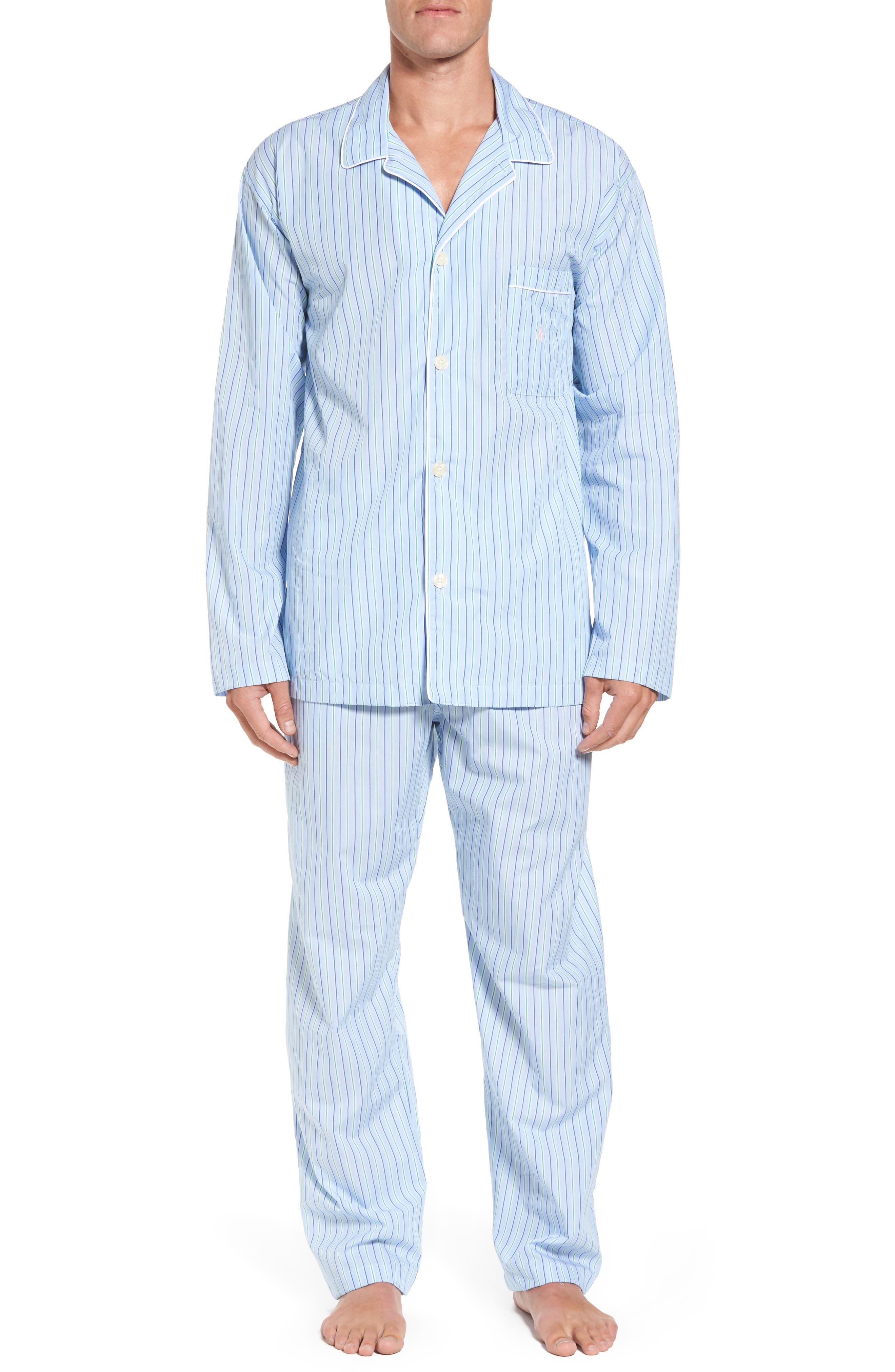 Cotton Pajama Top,                         Main,                         color, BARI STRIPE