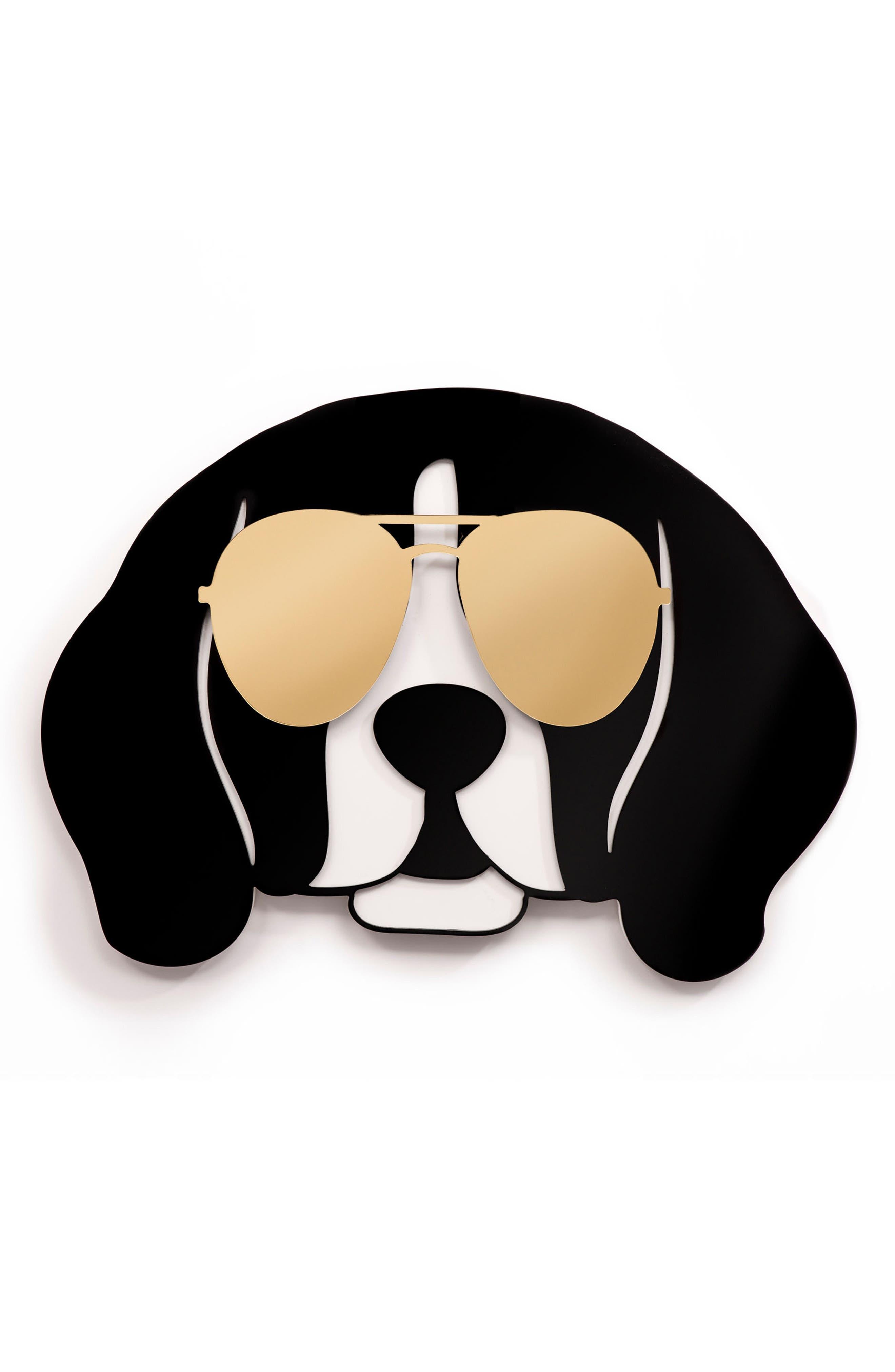Cool Beagle Wall Art,                             Main thumbnail 1, color,                             GOLD BLACK AND WHITE