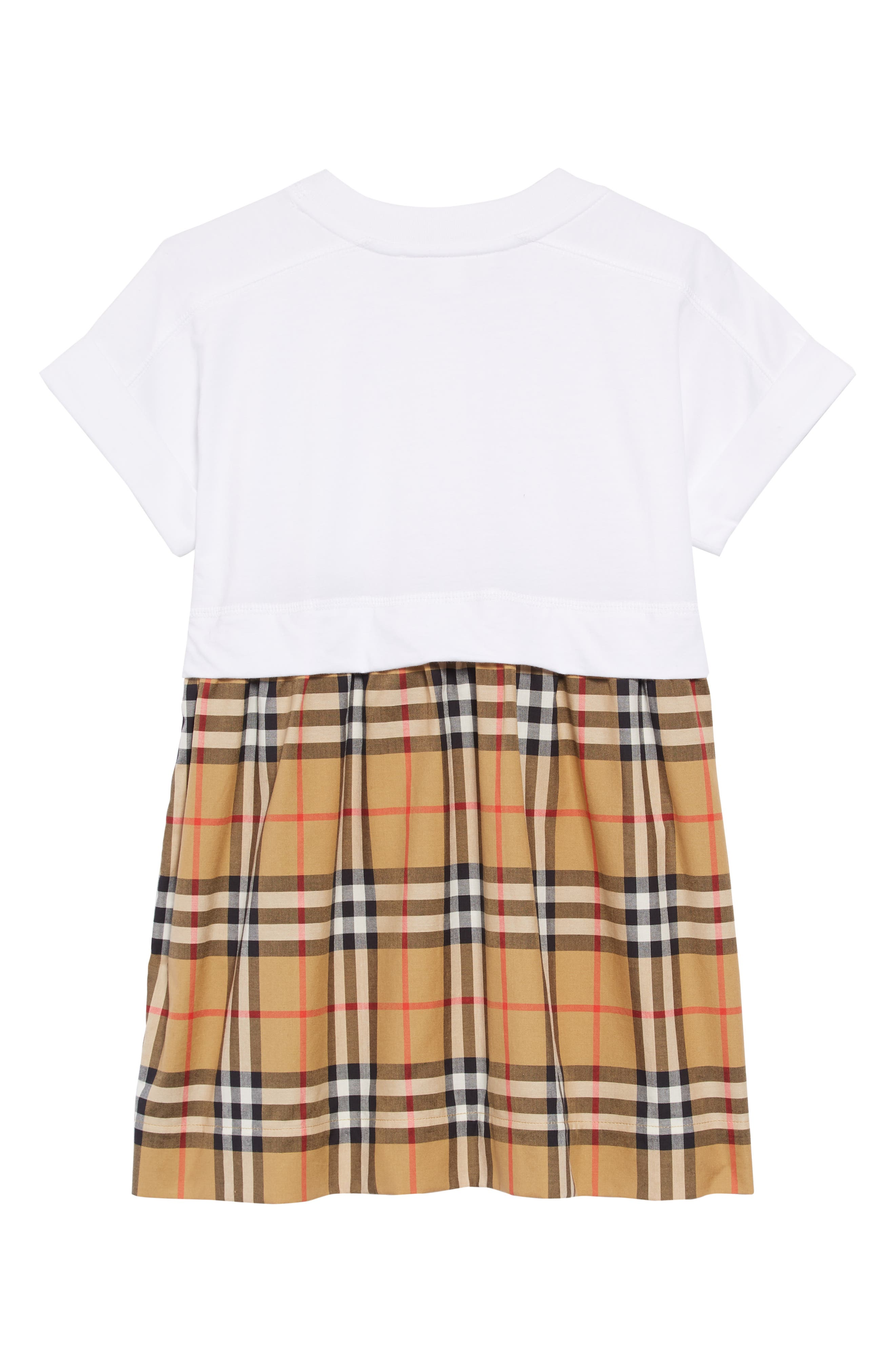 BURBERRY,                             Vintage Check Popover Dress,                             Alternate thumbnail 2, color,                             WHITE
